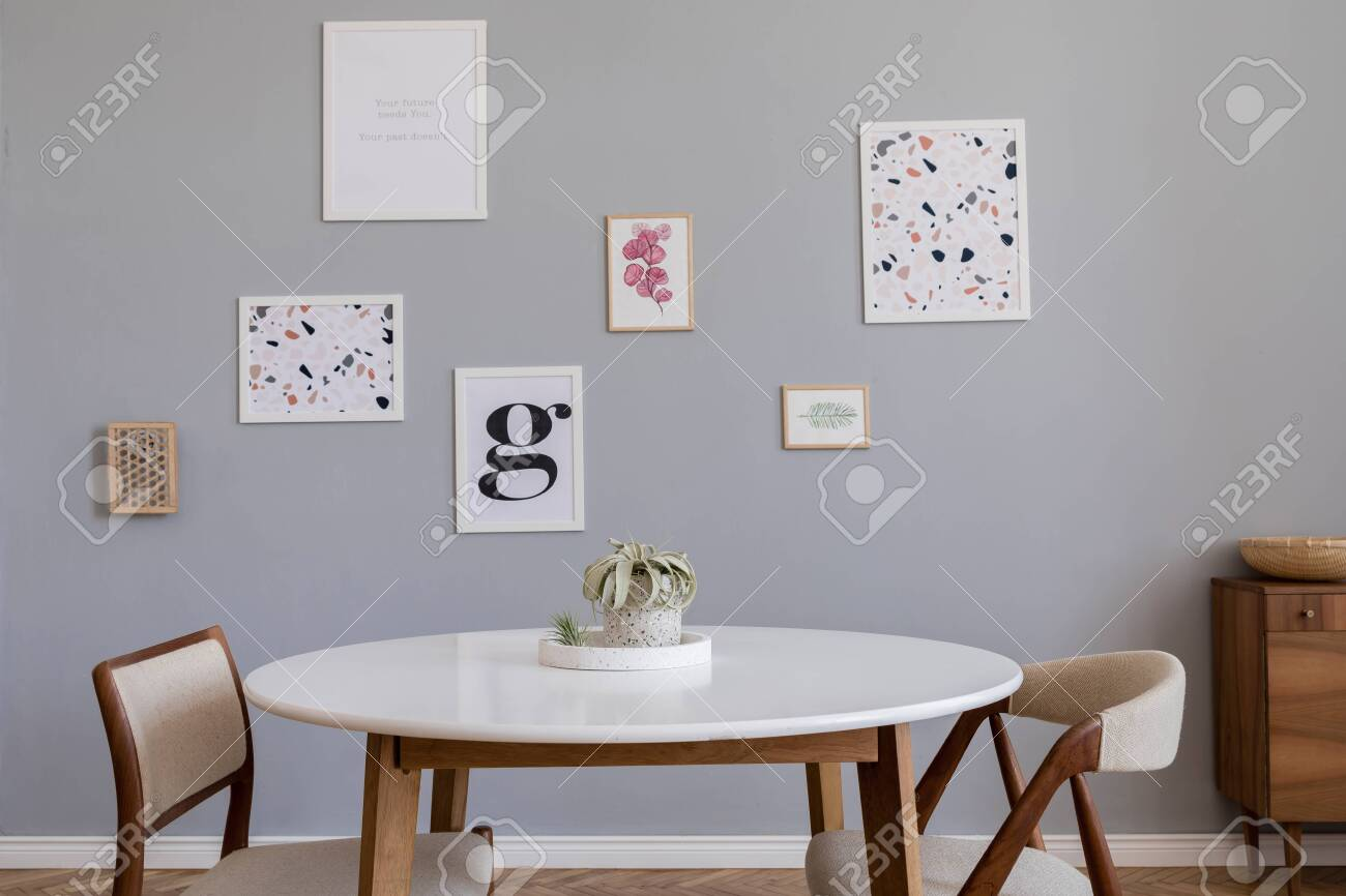 Stylish Scandinavian Home Interior Of Dining Room With Design Stock Photo Picture And Royalty Free Image Image 134078387