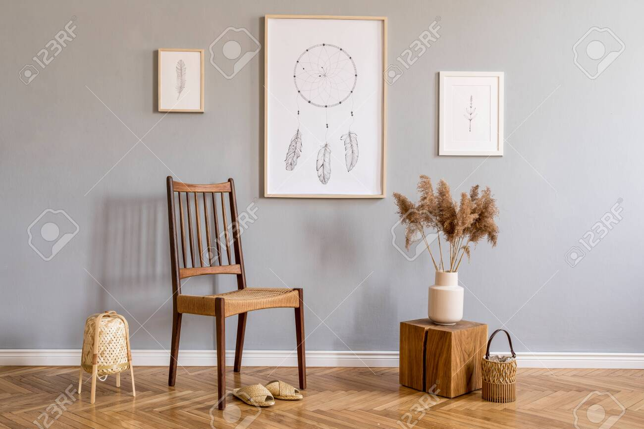 Modern Bohemian Interior Design Of Living Room With Retro Chair Stock Photo Picture And Royalty Free Image Image 135148165