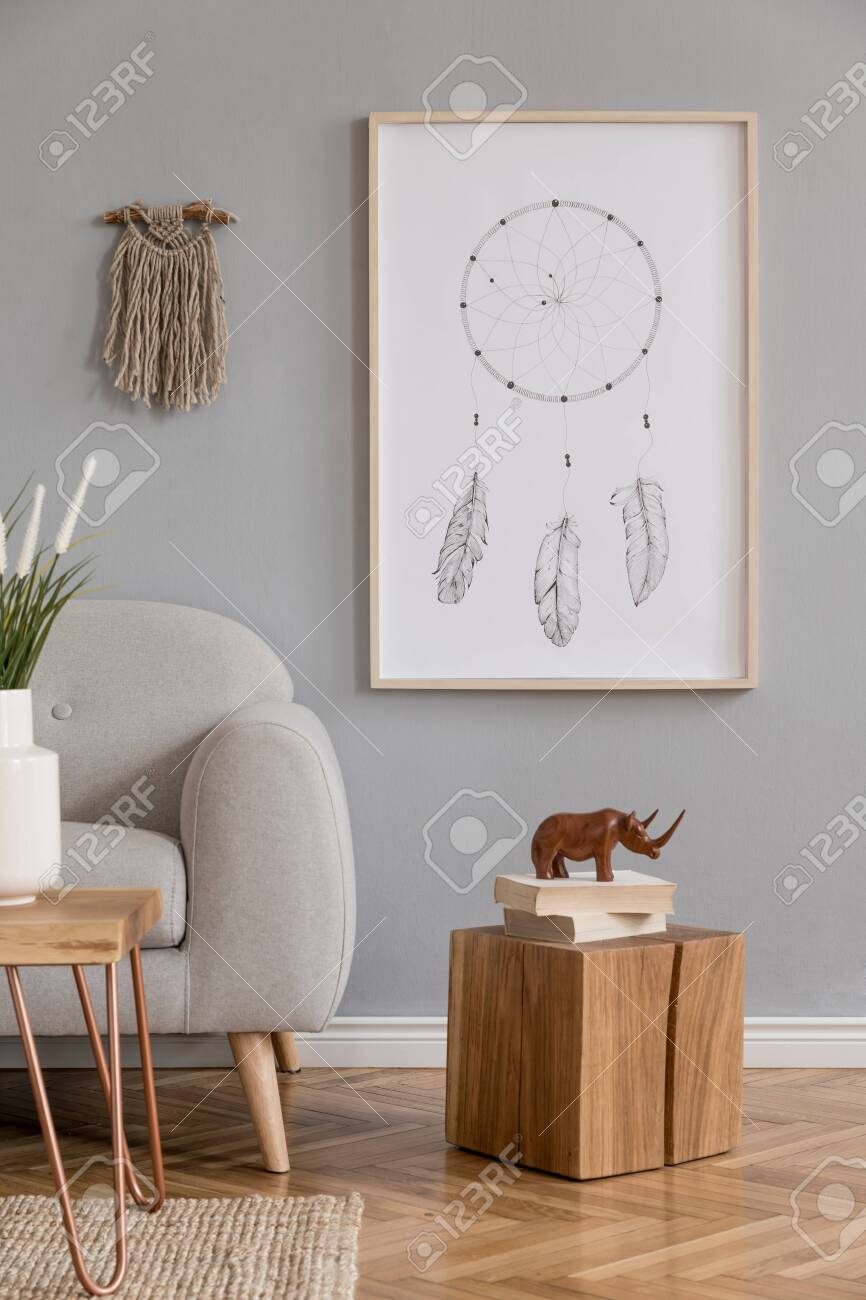 Minimalistic Design Home Interior Of Living Room With Gray Sofa Stock Photo Picture And Royalty Free Image Image 135148104