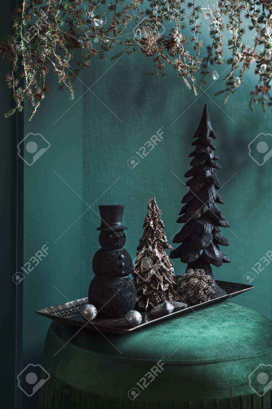 Christmas Composition On The Green Velvet Pouf In Living Room Stock Photo Picture And Royalty Free Image Image 156409485