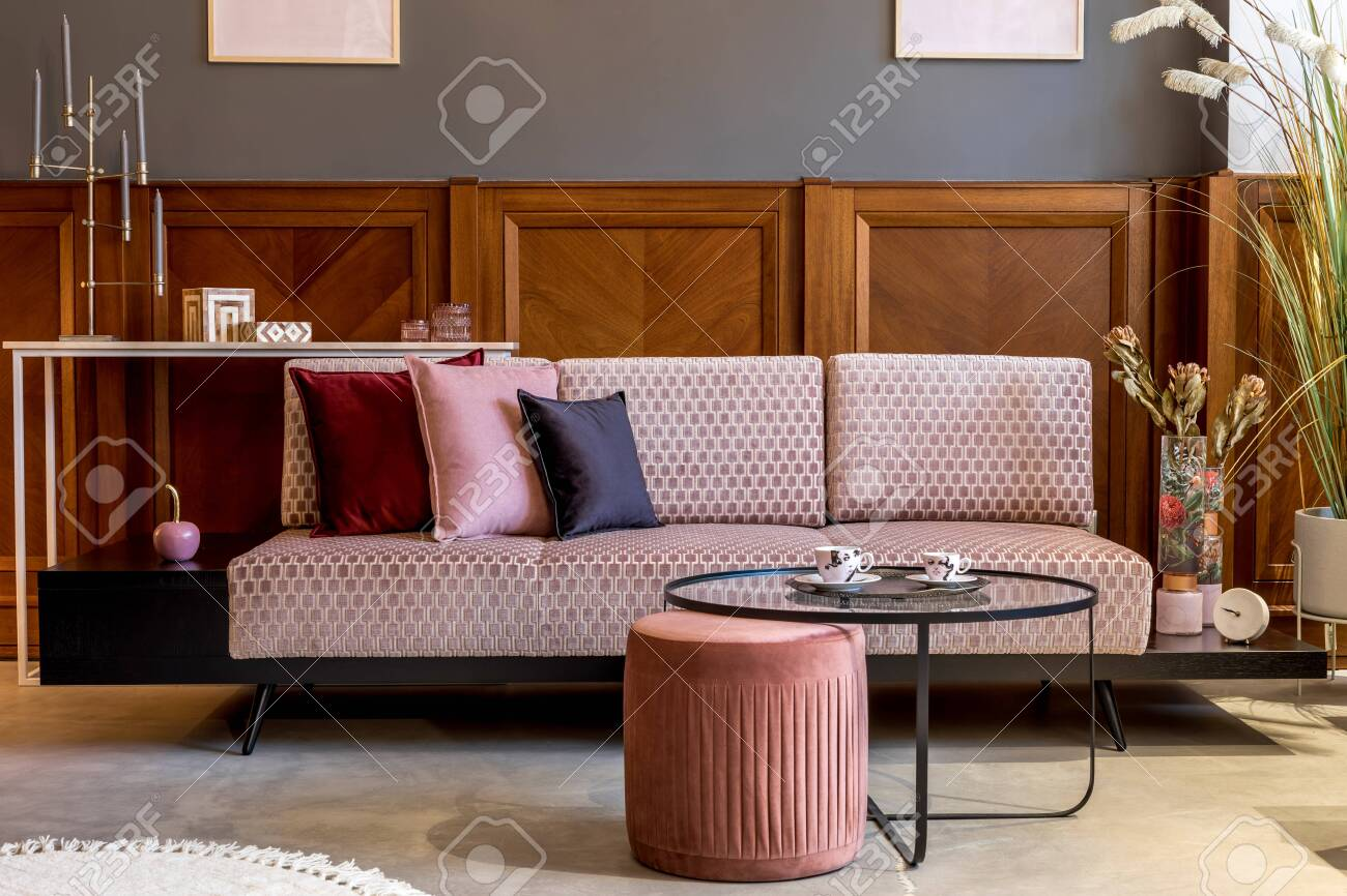 Stylish Interior Of Living Room With Design Pink Velvet Sofa Stock Photo Picture And Royalty Free Image Image 157196118
