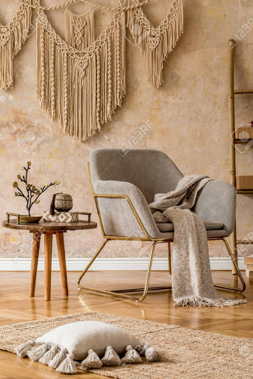 Interior Design Of Oriental Living Room With Modern Armchair Stock Photo Picture And Royalty Free Image Image 157196915