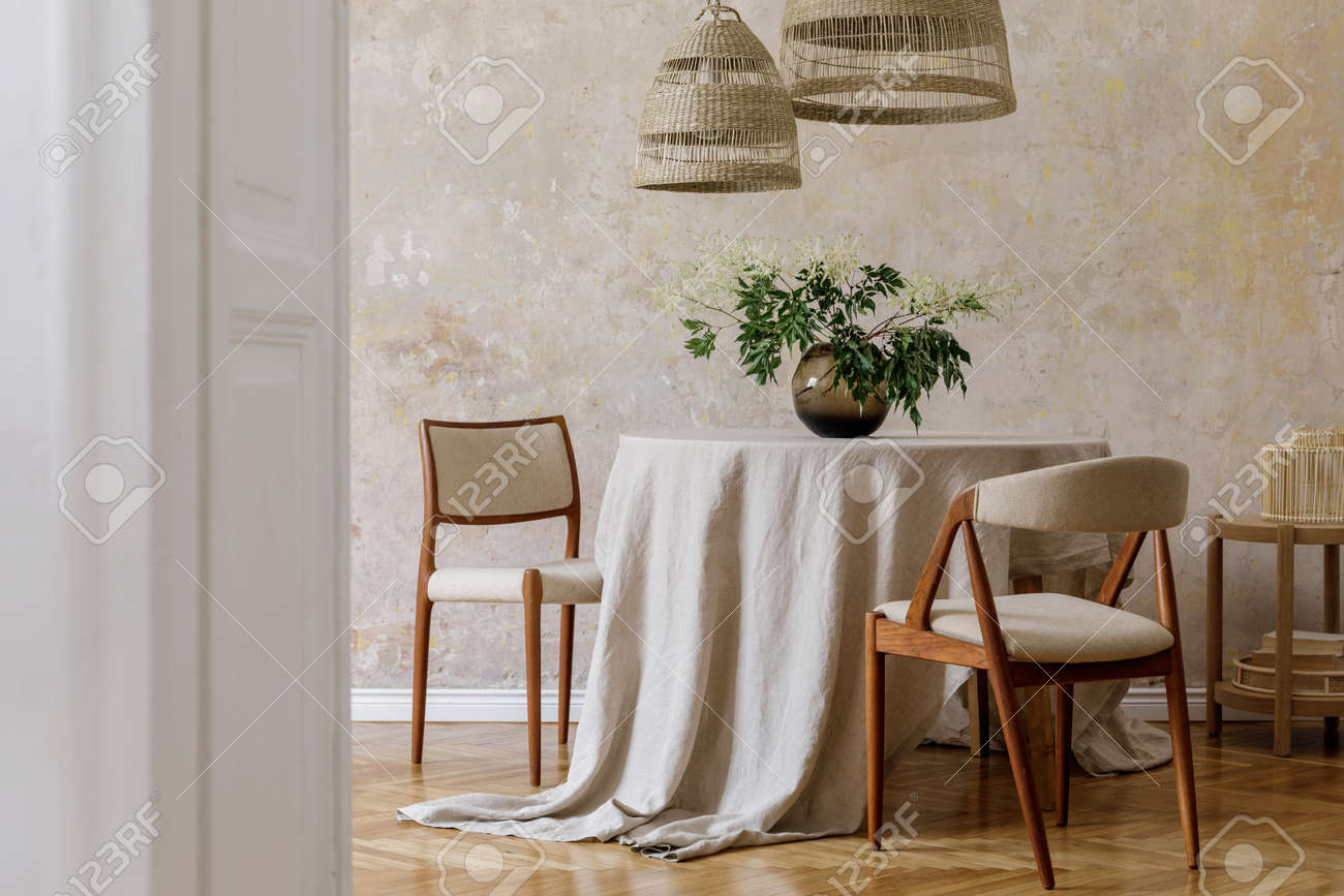 Stylish And Elegant Dining Room Interior With Diner Table Design Stock Photo Picture And Royalty Free Image Image 158783942