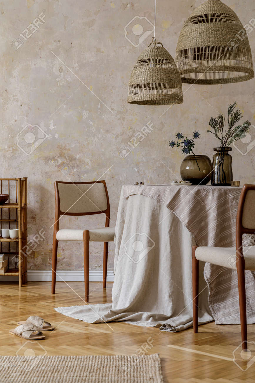 Stylish And Elegant Dining Room Interior With Diner Table Design Stock Photo Picture And Royalty Free Image Image 158789359