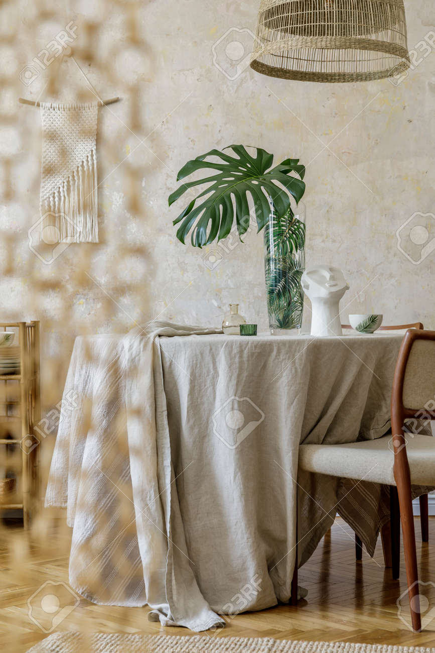 Stylish Dining Room Interior With Wooden Table Design Chairs Stock Photo Picture And Royalty Free Image Image 158789348