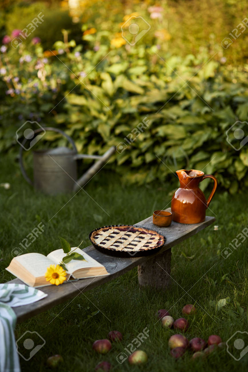 Stylish composition of countryside garden with old wooden bench, book, sunflower, cake, ceramic jar and elegant accessories. A lot of colorful flowers. Summer mood. Template. - 168356338