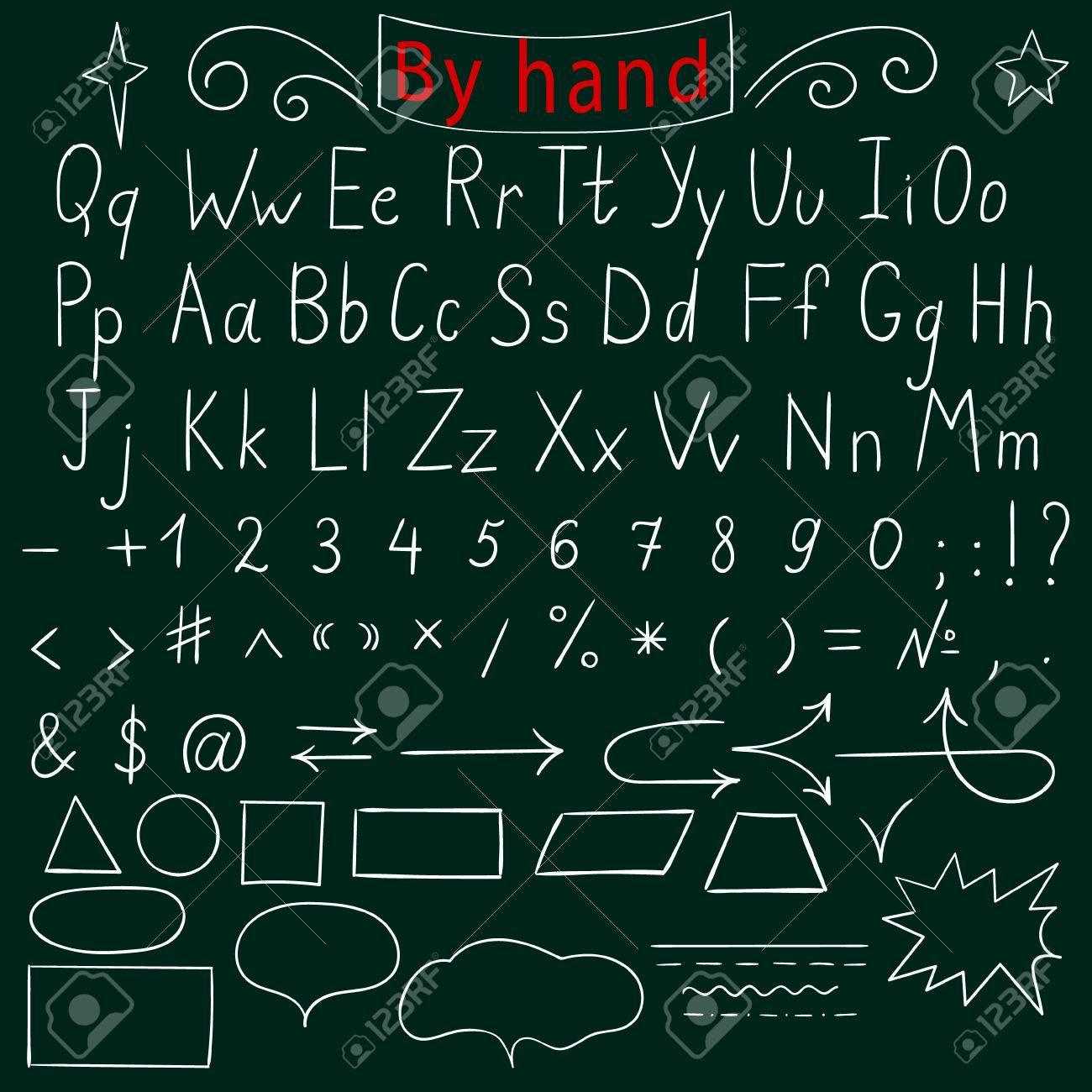 Handgeschreven Brieven Aantal Tekens Vormen Engels Alfabet