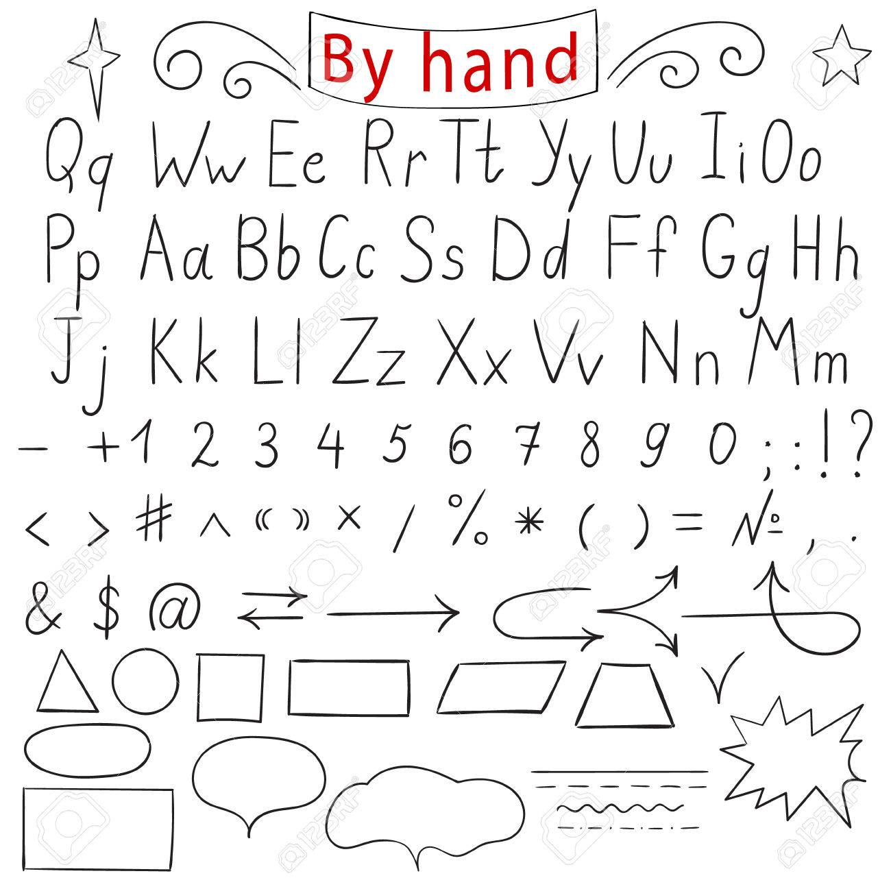 Handwritten Letters Number Characters Shapes English Alphabet