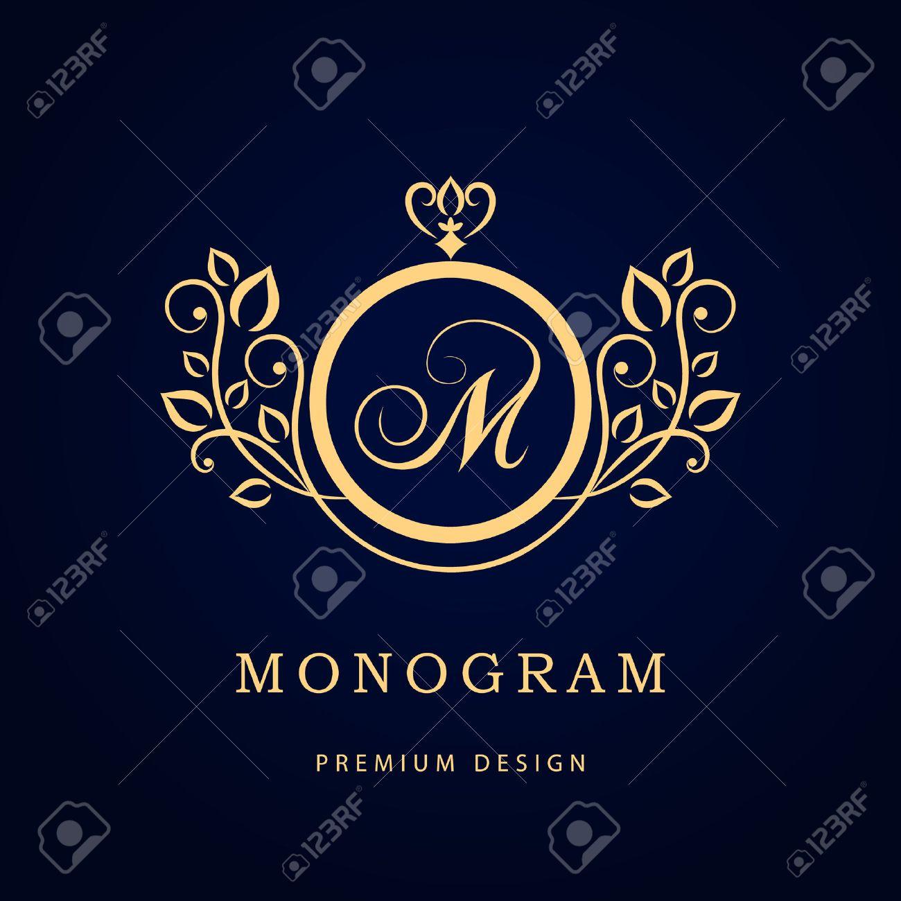 Vector illustration of Monogram design elements graceful template. Elegant line art logo design. Business sign identity for Restaurant Royalty Boutique Cafe Hotel Heraldic Jewelry Fashion Wine. - 42590938