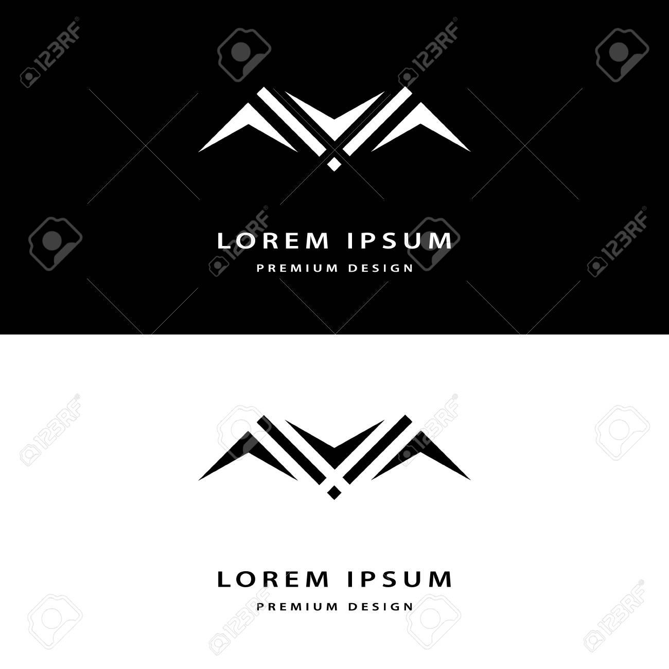 Les Elements Creatifs De Conception Icone Monogramme Avec Cartes Visite Professionnelles Gracieuse Lart La Ligne Elegante Logo