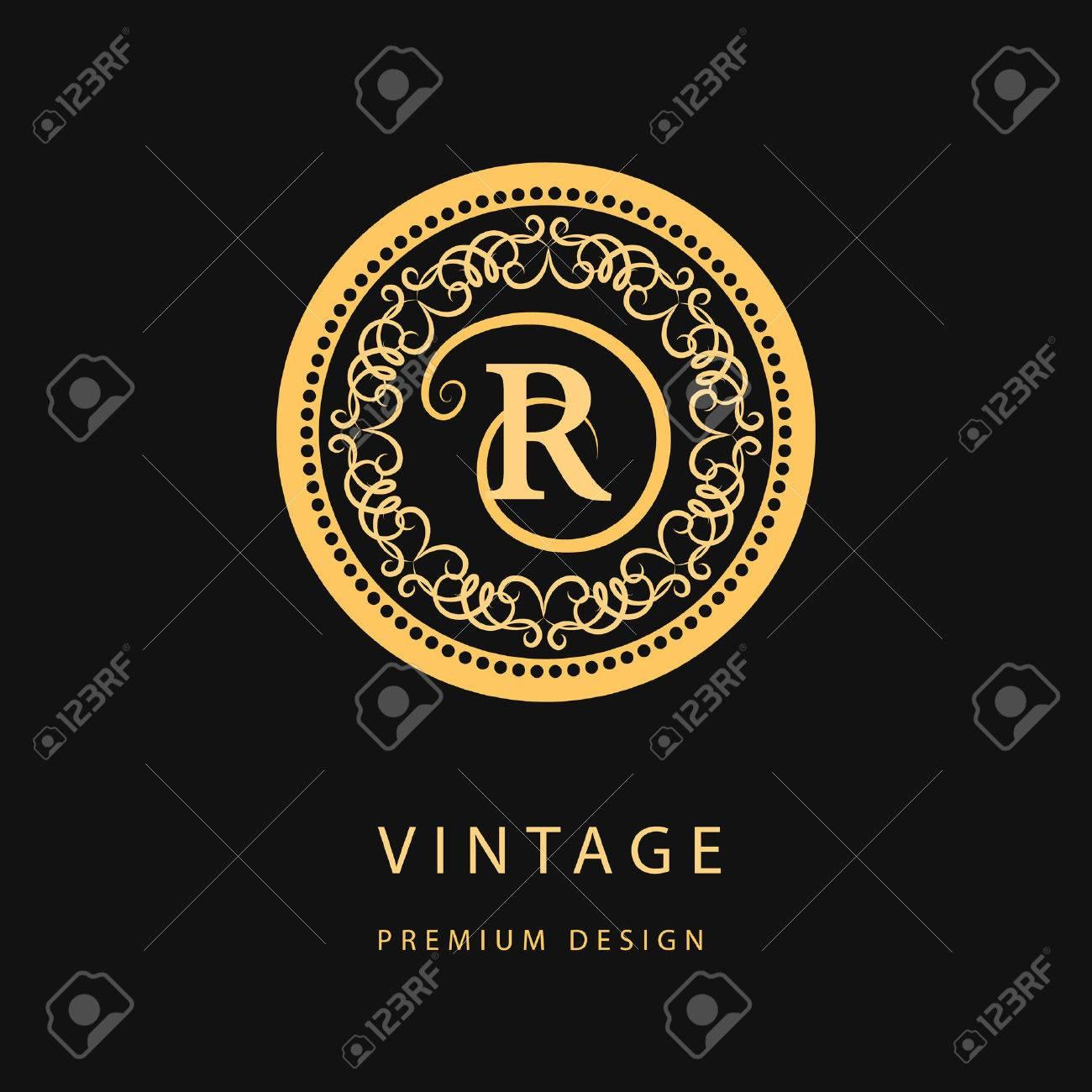 Monogram design elements, graceful template. Calligraphic elegant line art logo design. Letter emblem R for Royalty, business card, Boutique, Hotel, Restaurant, Cafe, Jewelry. Vector illustration - 42613409