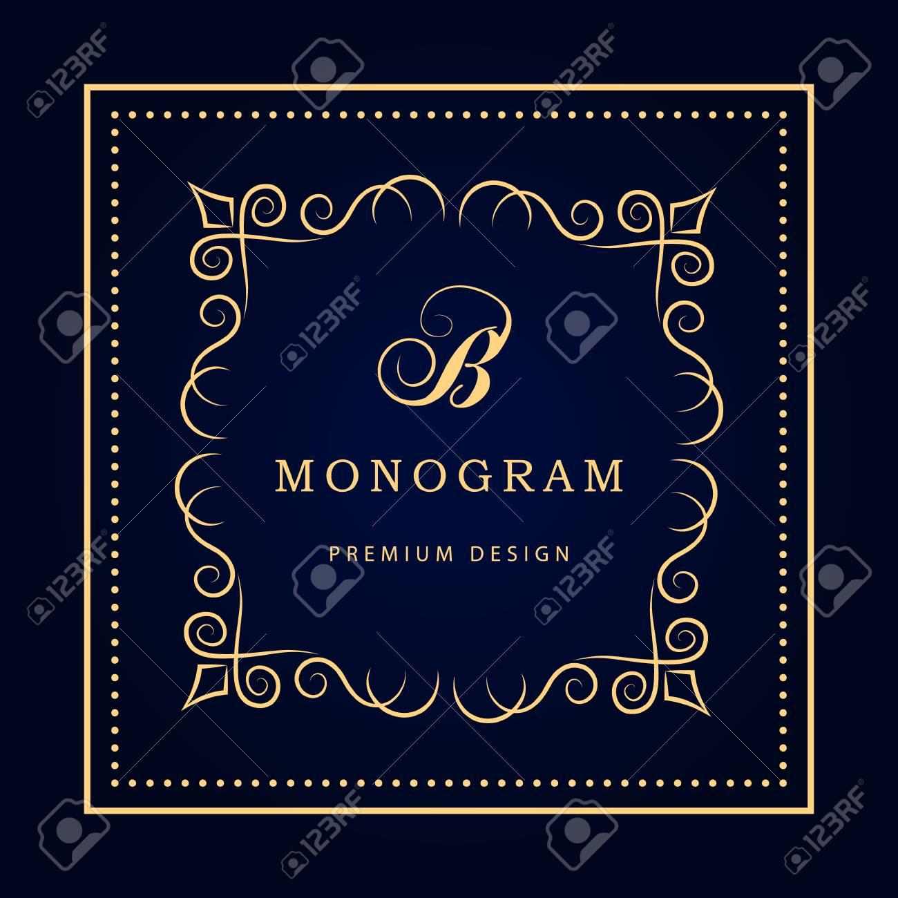 Calligraphique Lgant Art De La Ligne Conception Logo Lettre Signe Emblme B Monarchie Carte Visite Boutique Htel Restaurant Caf