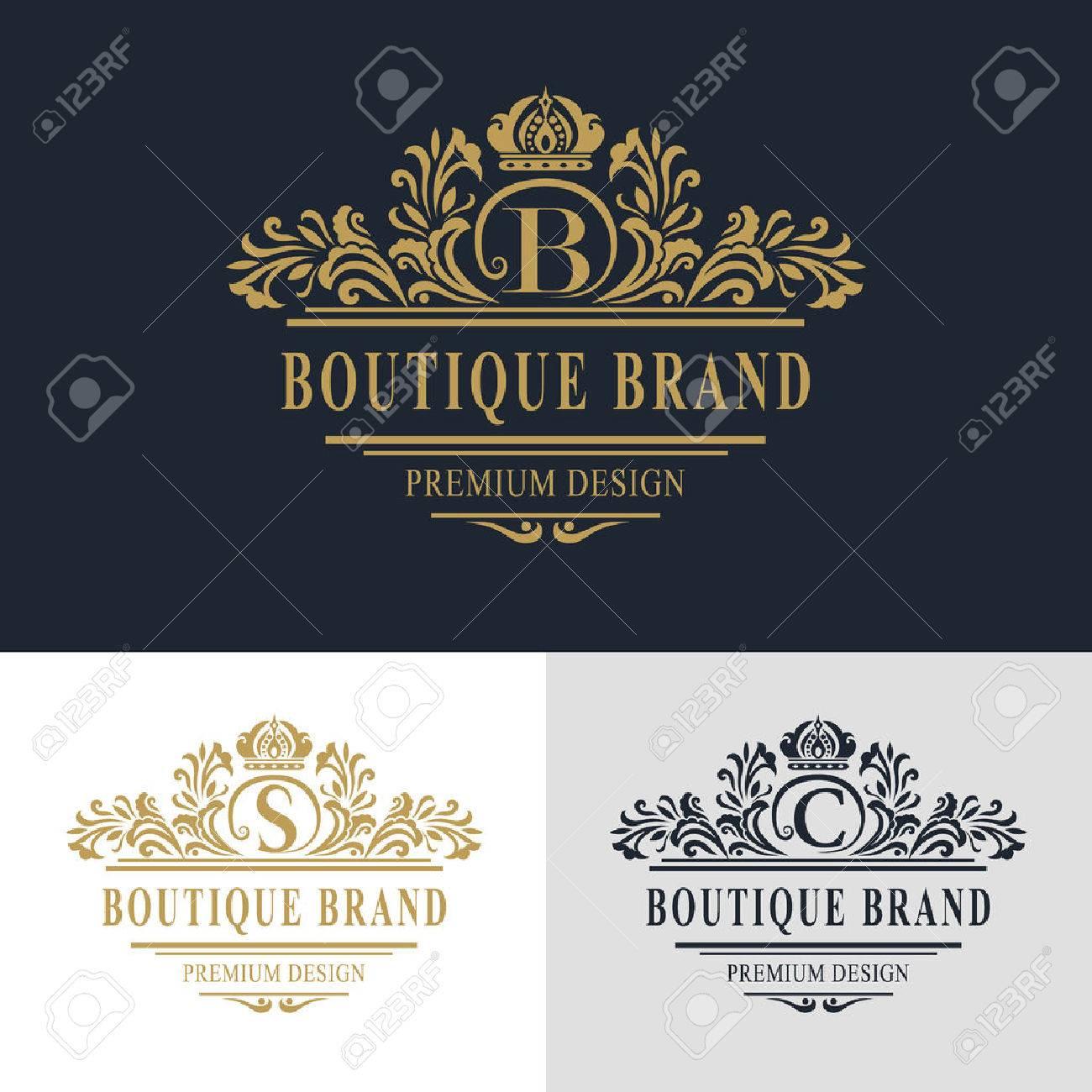 Calligraphique Lgant Art De La Ligne Conception Logo Lettre Emblme Signe B S C Pour Monarchie Carte Visite Boutique Htel