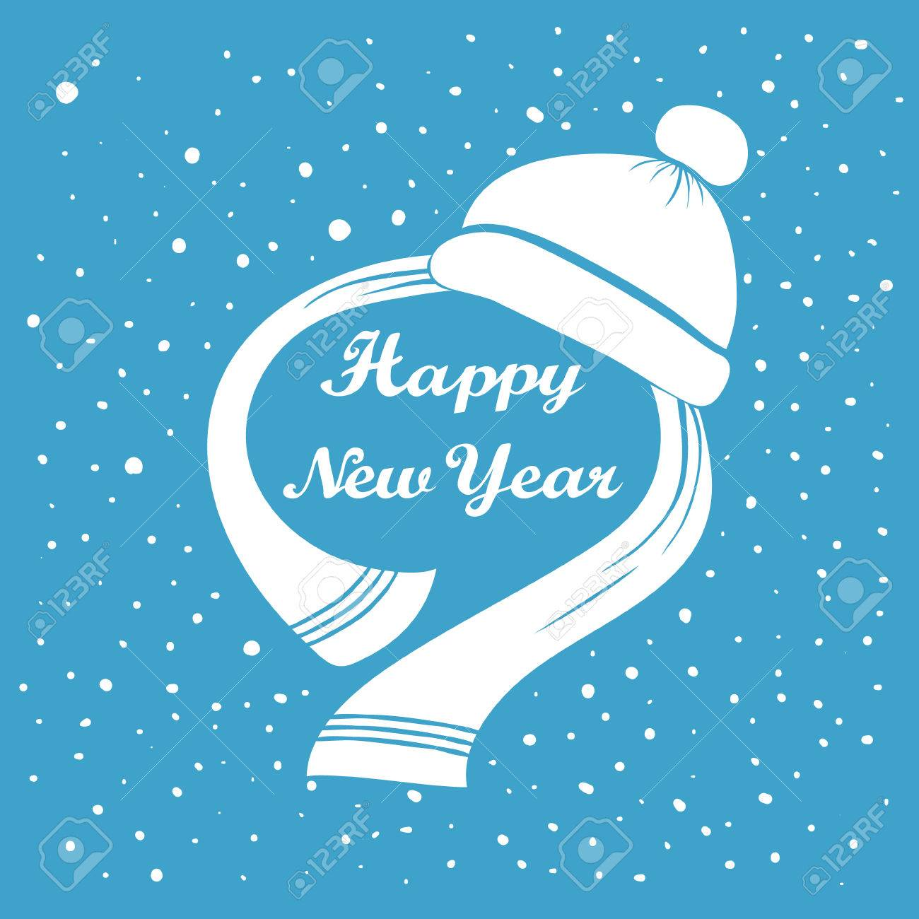Vector Illustration Of Happy New Year Hand Lettering Handmade