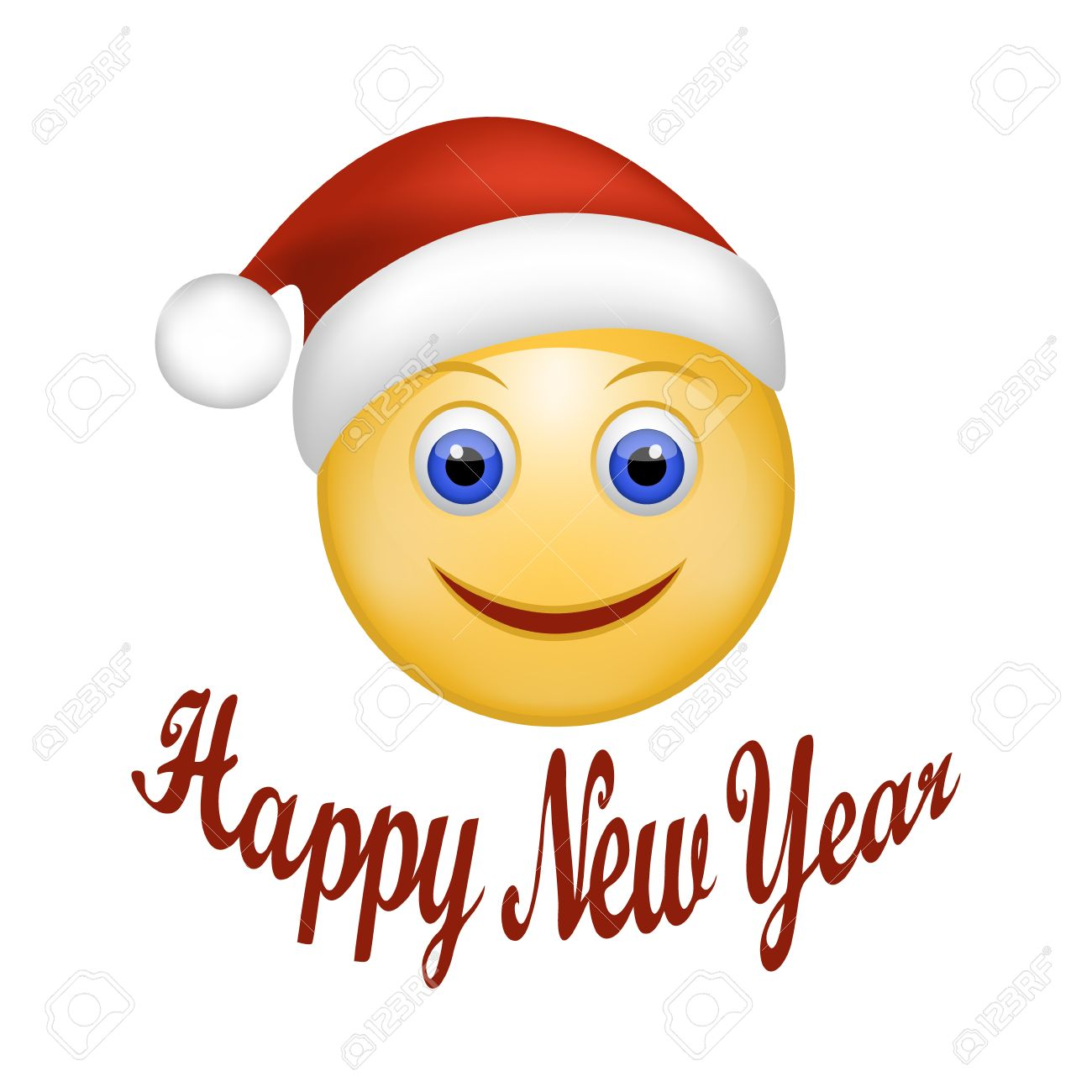 vector illustration of smiley face happy santa claus face emoticon rh 123rf com Smiley Face with Hat Clip Art Red Smiley Face Clip Art