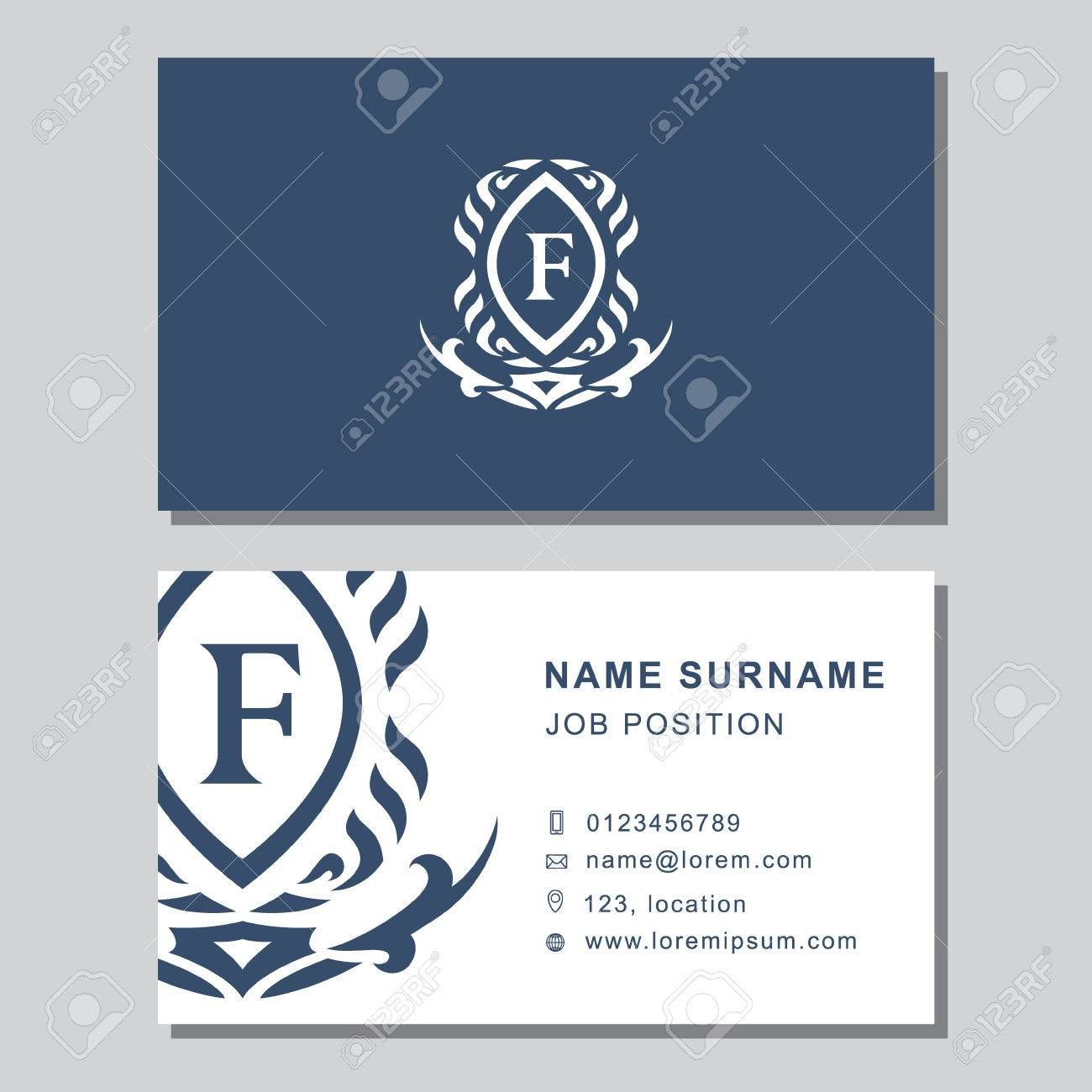 Vector Illustration Of Business Card Template With Abstract Monogram ...