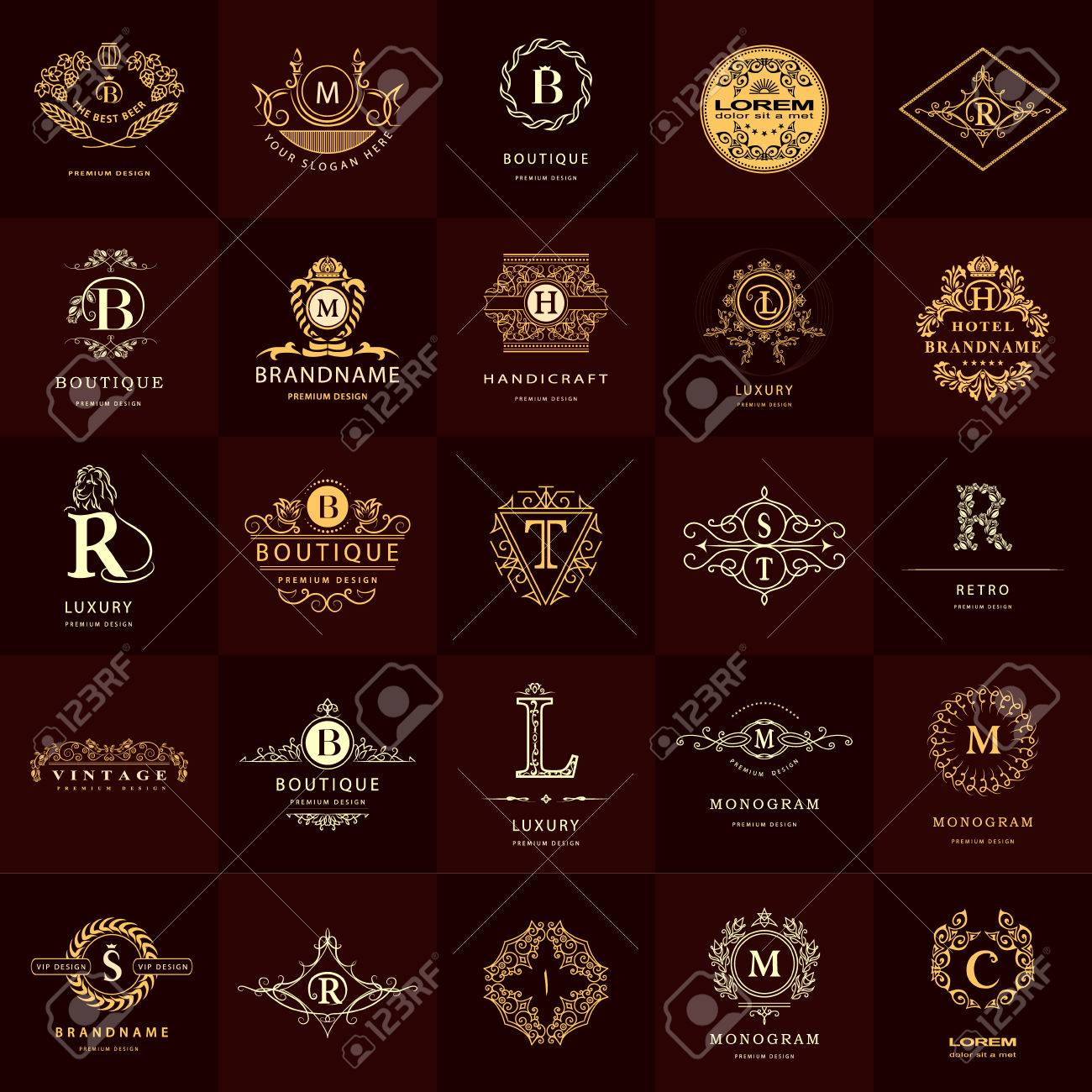 Vector illustration of line graphics monogram vintage logos vector illustration of line graphics monogram vintage logos design templates set business sign letter pronofoot35fo Gallery