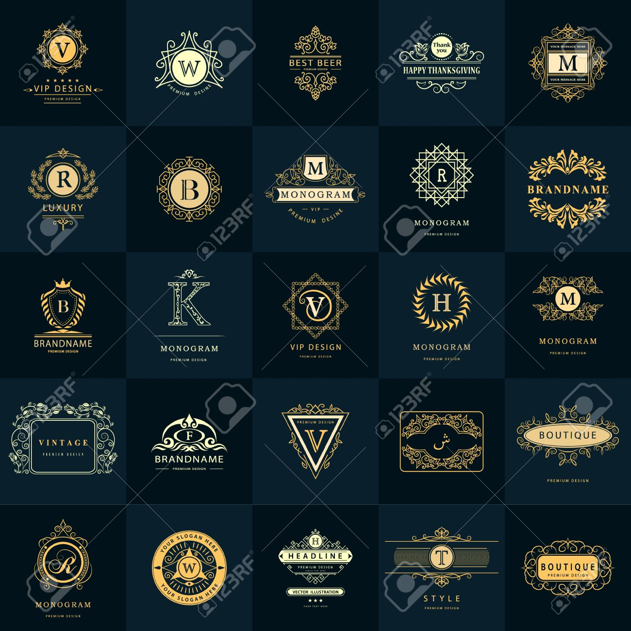 13ab3070cb456 Vintage Logos Design Templates Set. Business sign Letter emblem. Vector  logotypes elements collection