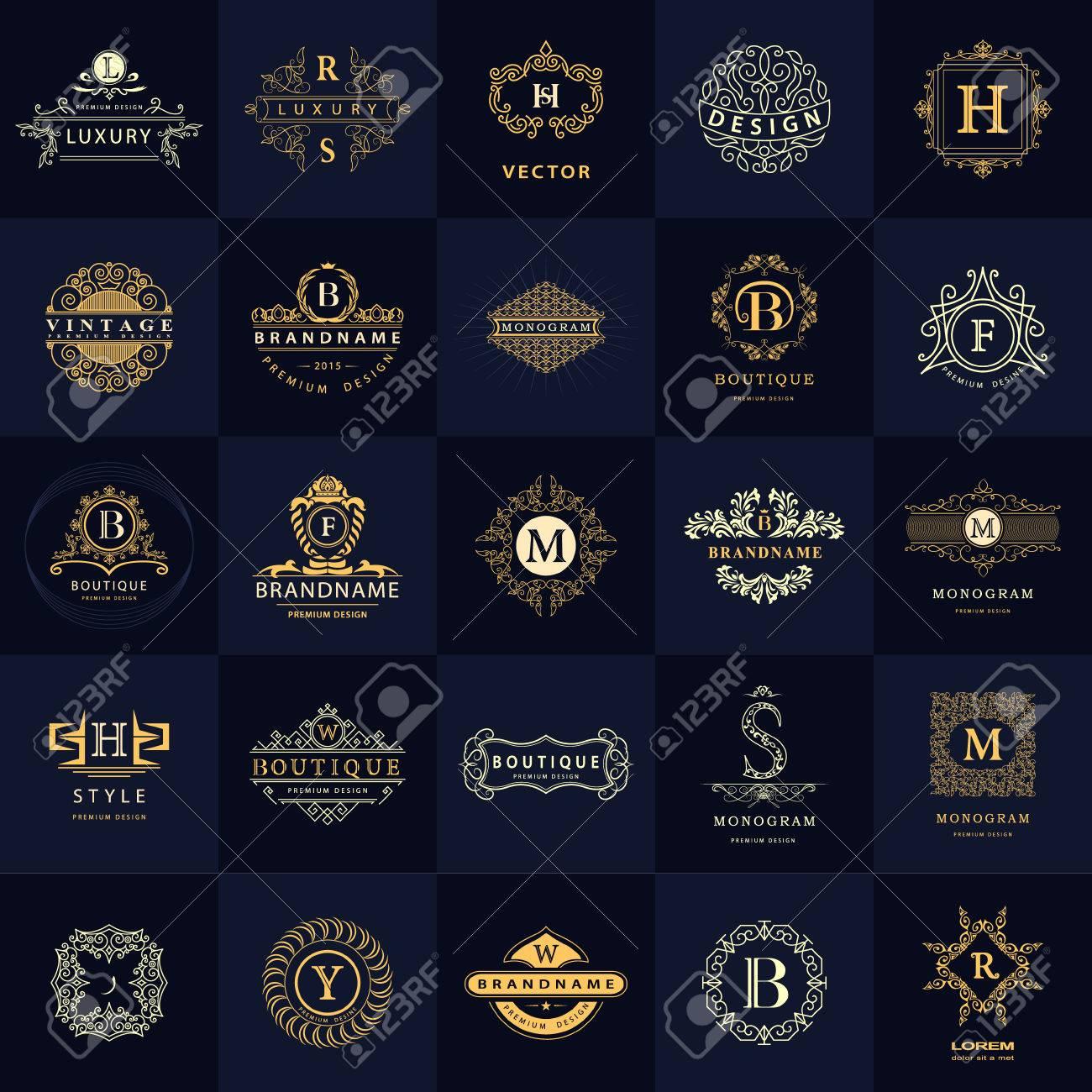 vector illustration of line graphics monogram vintage logos design templates set business sign letter