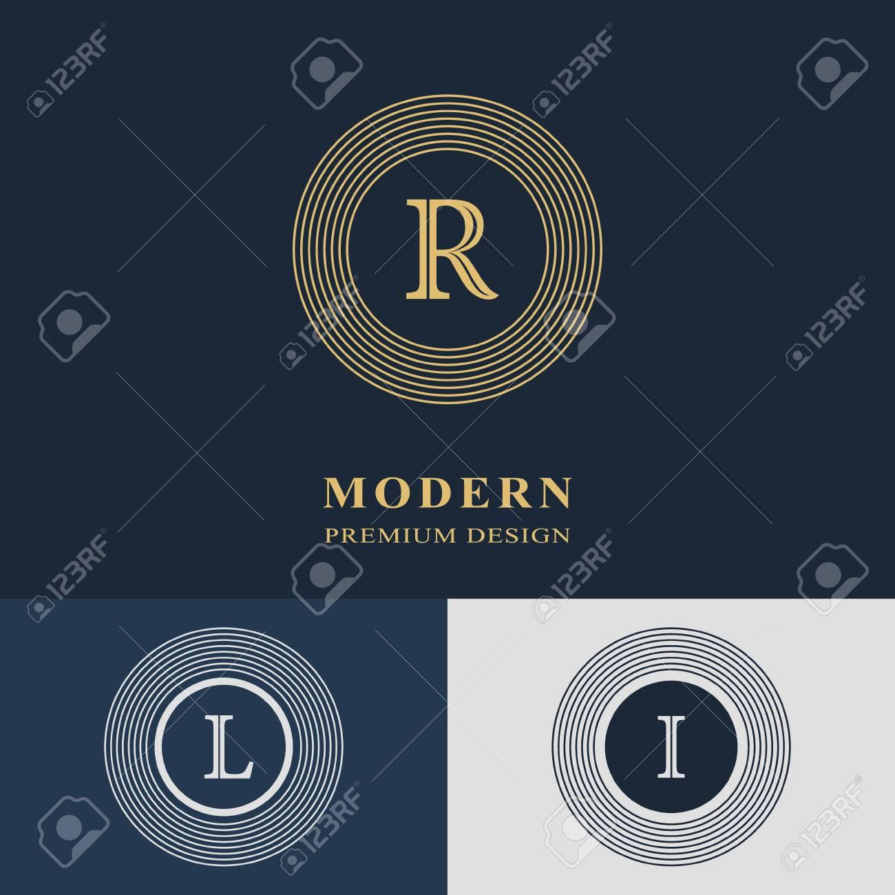 modern logo design geometric linear monogram template letter