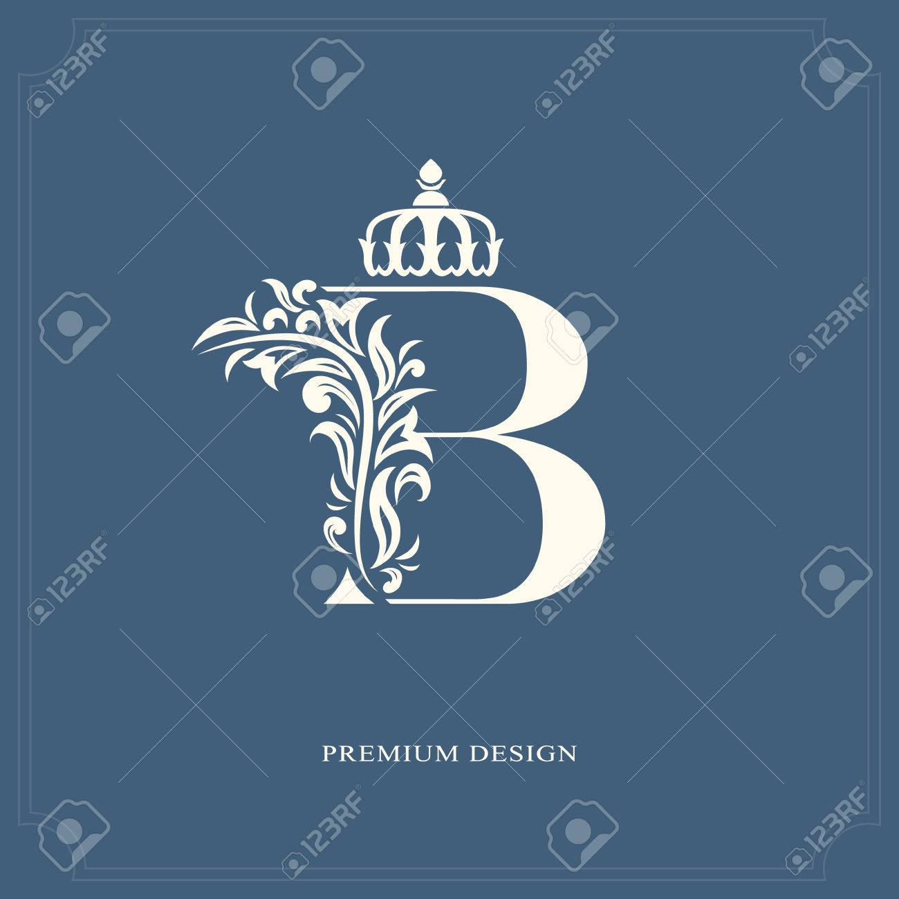 Elegant Letter B With A Crown. Graceful Royal Style. Calligraphic ...