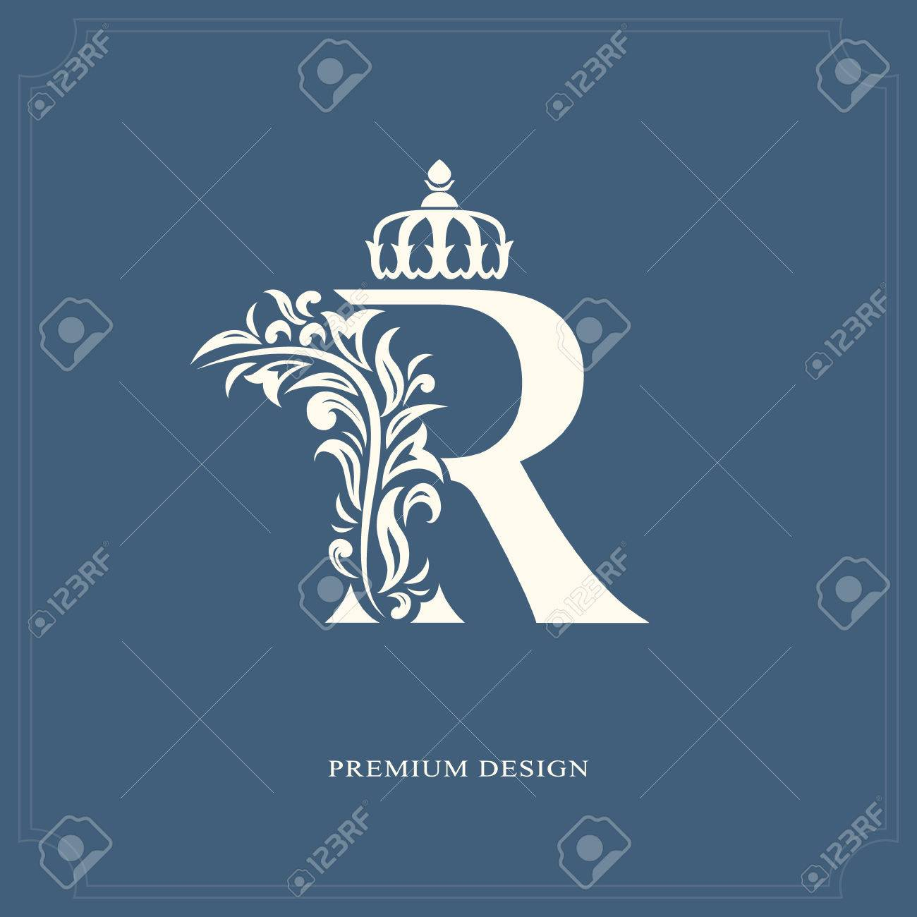 Elegant Letter R With A Crown Graceful Royal Style Calligraphic Beautiful Logo Vintage