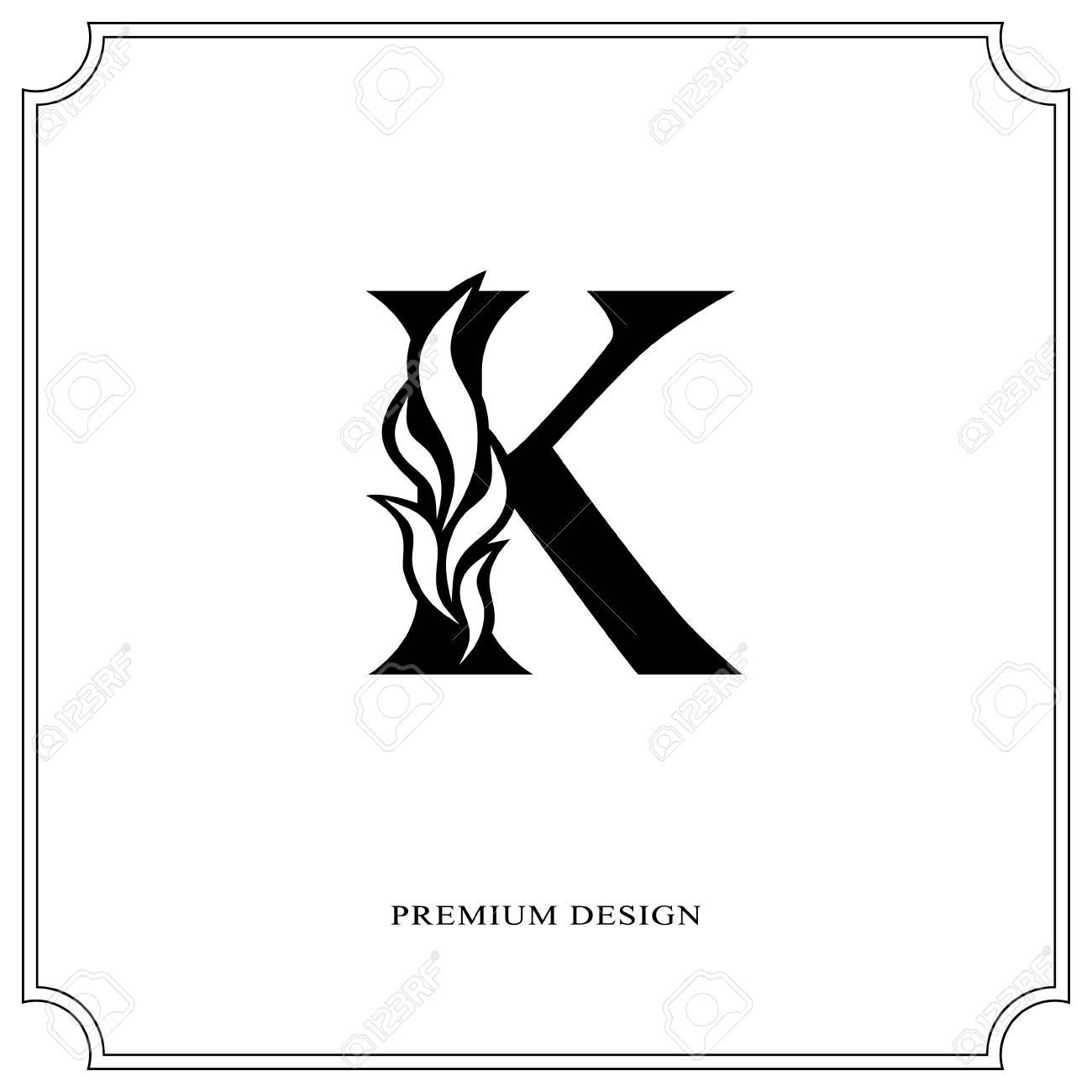 Elegant Letter K Graceful Royal Style Calligraphic Beautiful