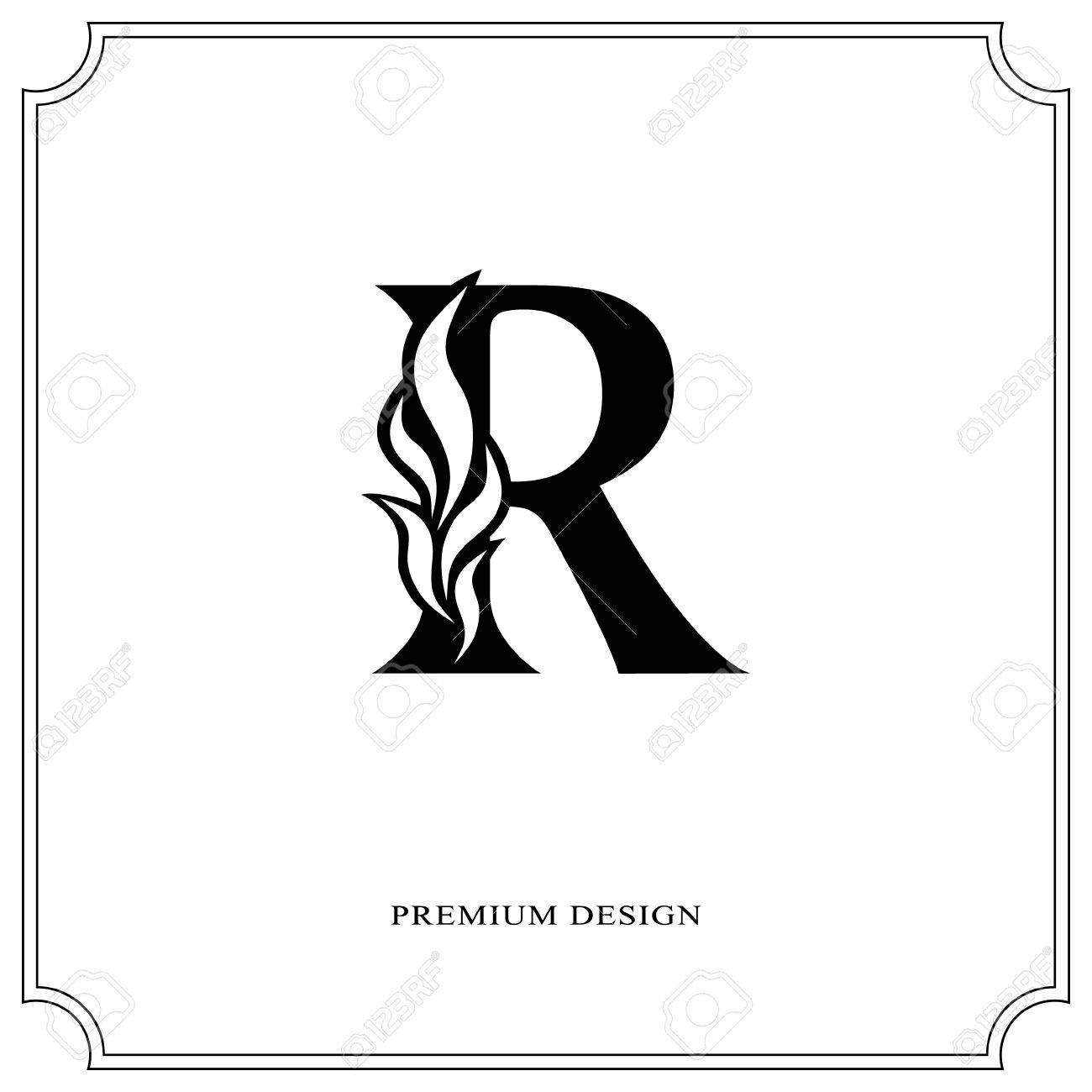 Elegant Letter R Graceful Royal Style Calligraphic Beautiful