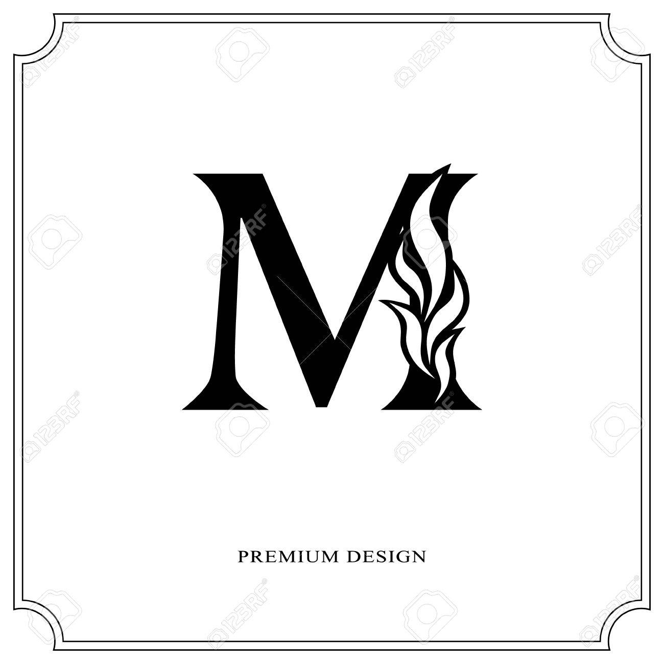 Elegant Letter M Graceful Royal Style Calligraphic Beautiful