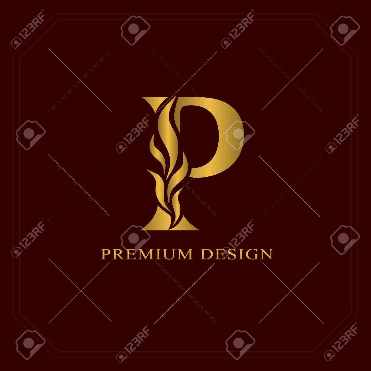 gold elegant letter p graceful style calligraphic beautiful logo vintage drawn emblem for