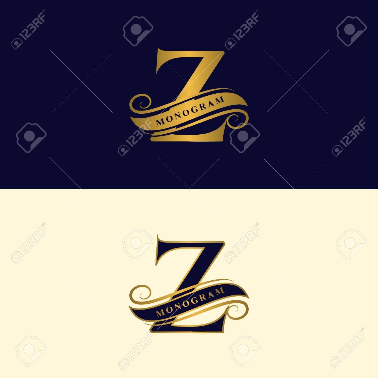 Gold Letter Z Calligraphic Beautiful Logo With Tape For Labels Graceful Style Vintage