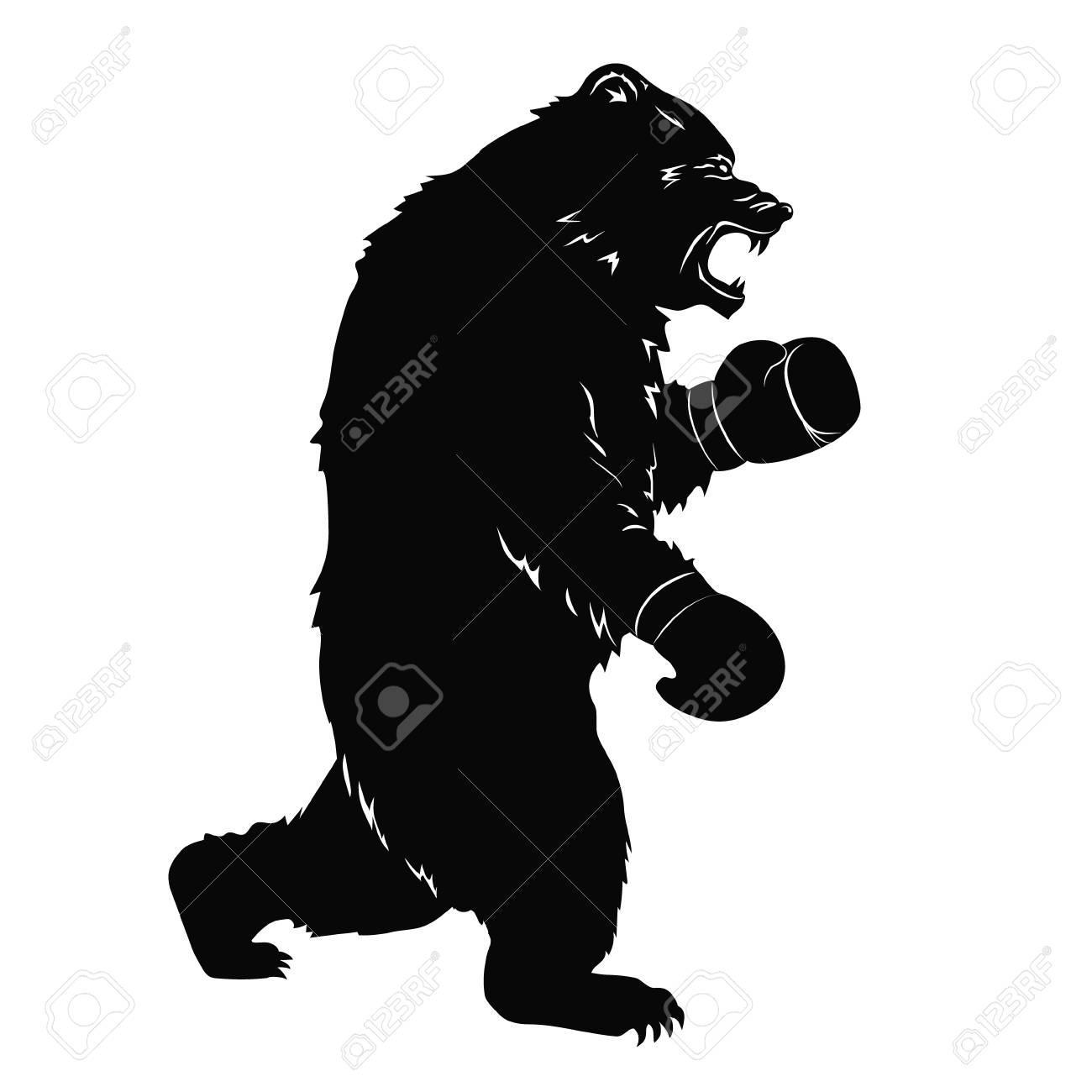 black bear in boxing gloves silhouette of a wild animal for
