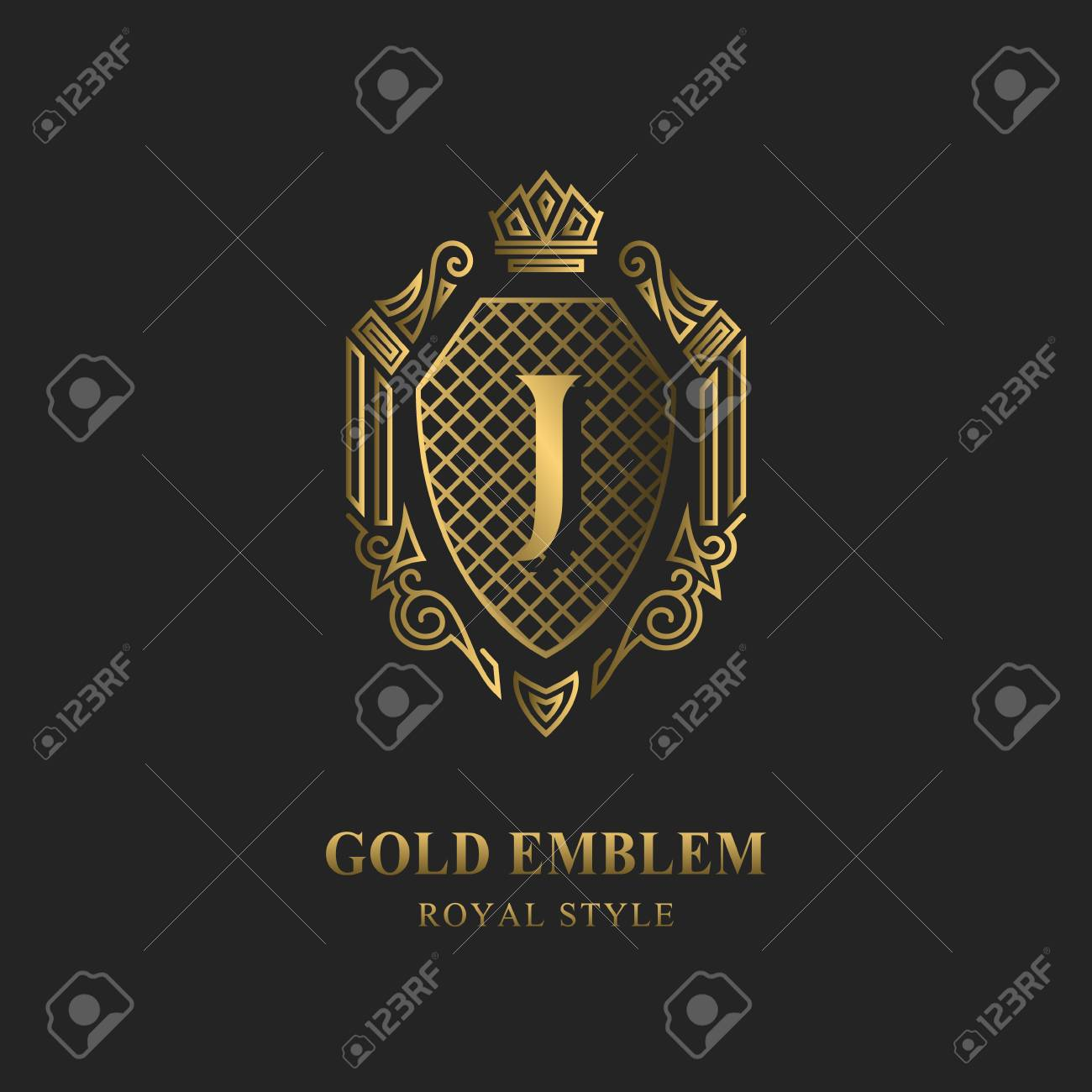 Royal monogram design. Luxury volumetric logo template. 3d line ornament. Emblem with letter J for Business sign, badge, crest, label, Boutique brand, Hotel, Restaurant, Heraldic. Vector illustration - 108495450