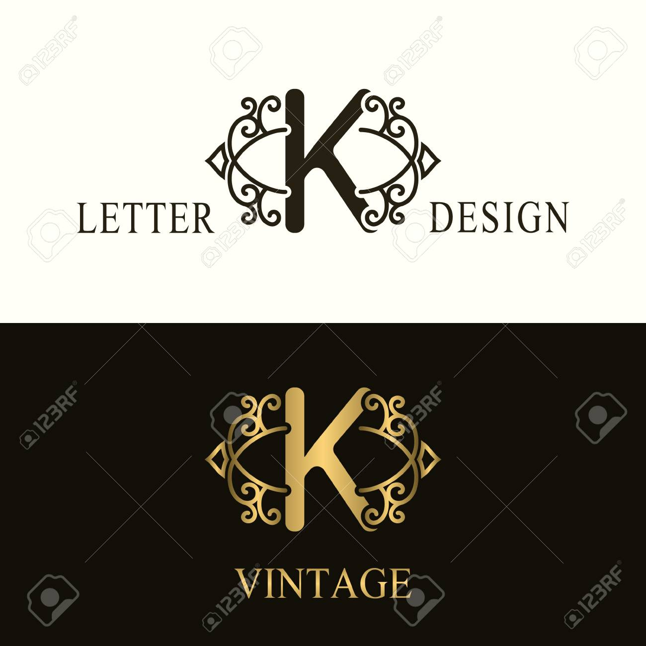Stylish Capital Letter K Vintage Logo Filigree Beautiful Monogram