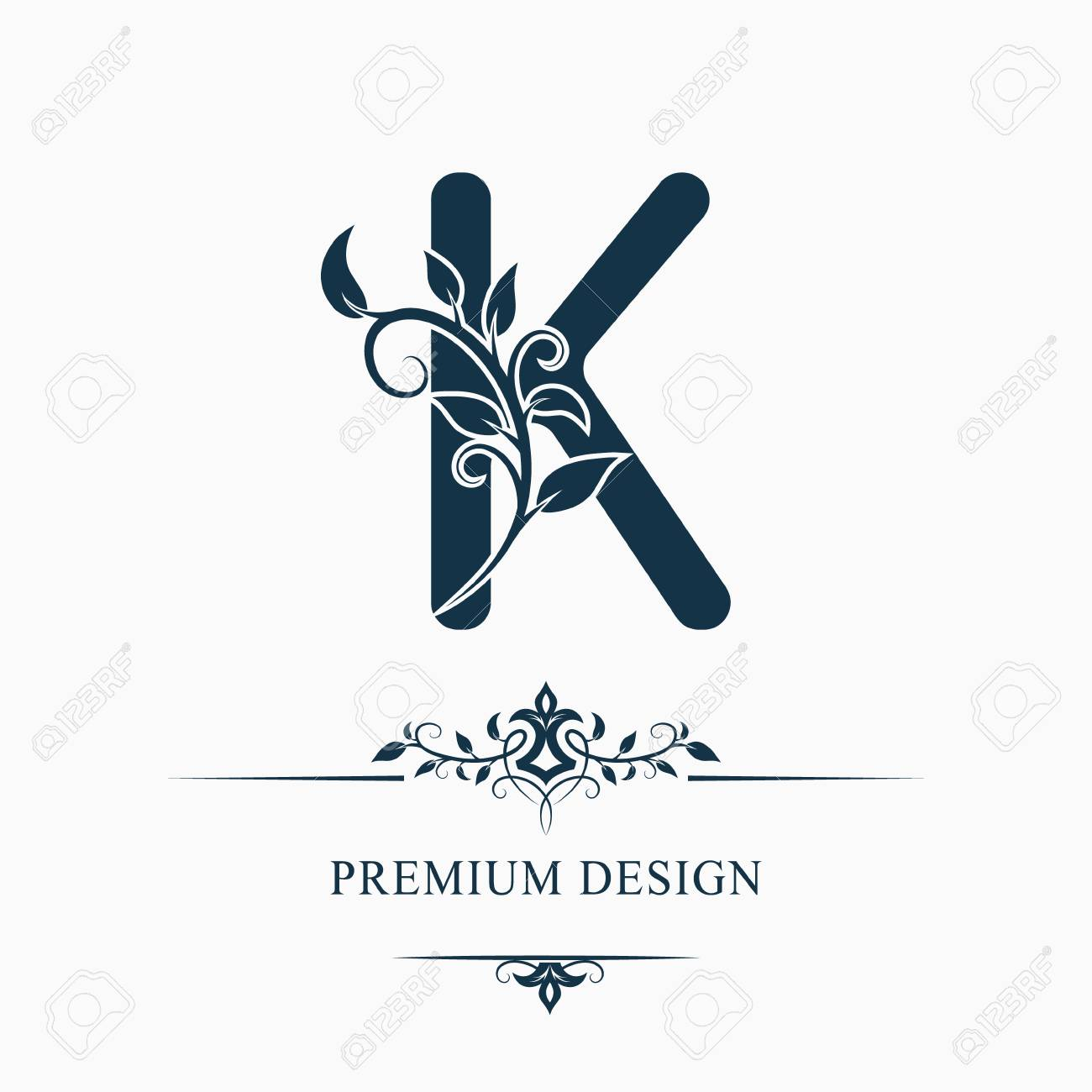 Luxury Capital Letter K Decorative Floral Monogram Branch With