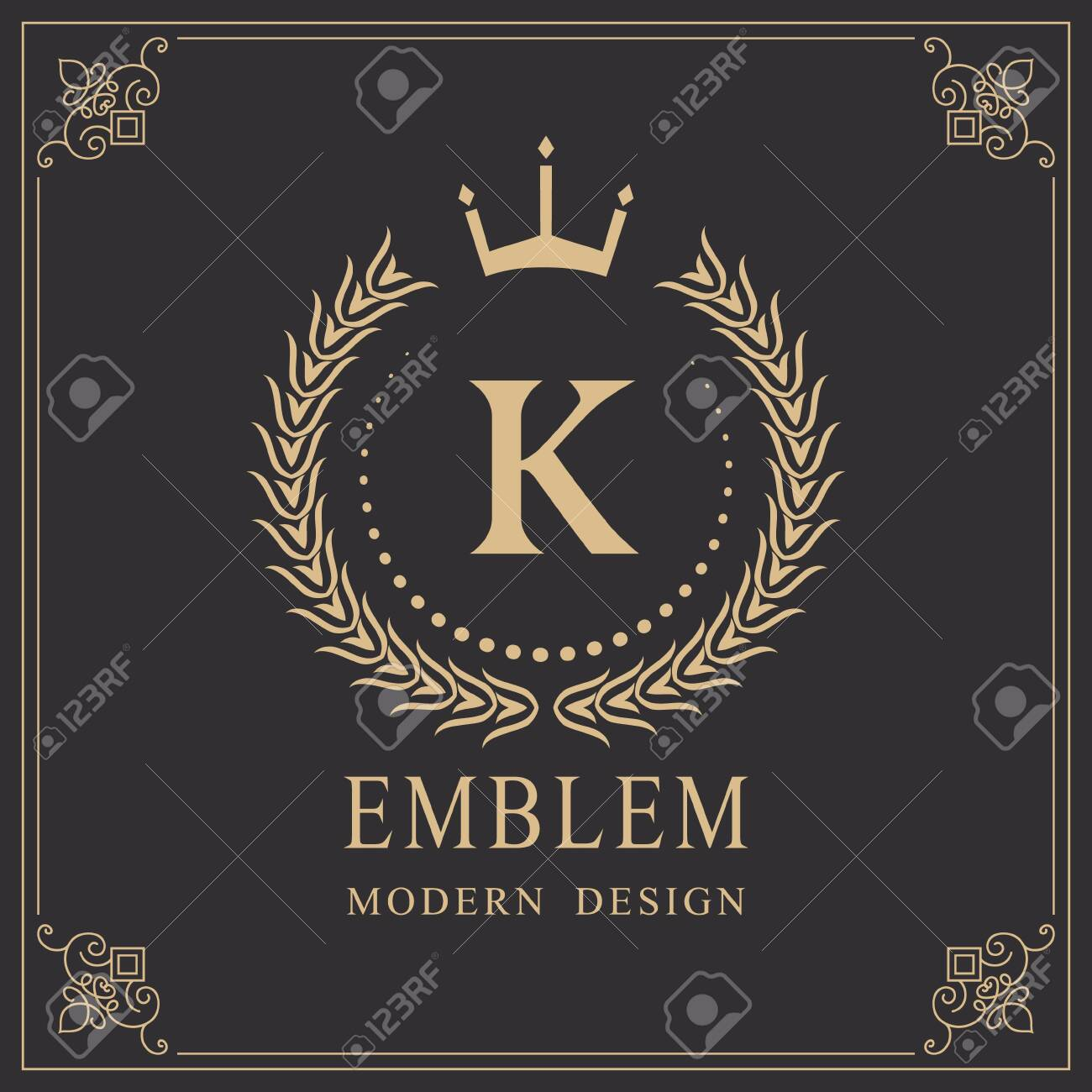 Coat of Arms. Initial Letter K. Heraldic Royal Frame with Crown. Abstract Laurel Wreath. Simple Classic Emblem. Round Composition. Graphics Style. Art Elements for Logo Design. Vector Illustration - 123758172