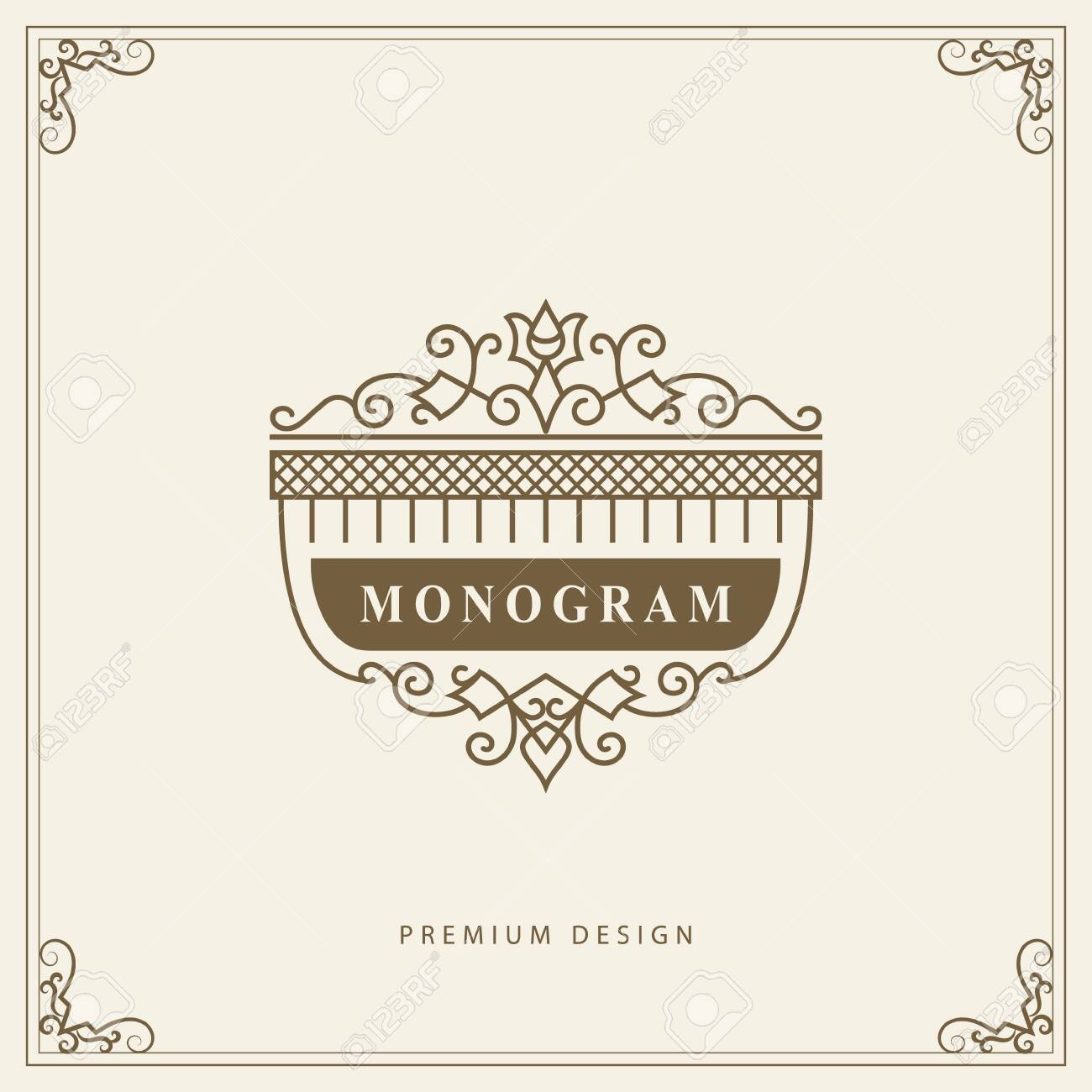 Vintage Ornament Greeting Card Vector Template. Retro Luxury Invitation, Royal Certificate. Flourishes frame. Vector Background - 123958489