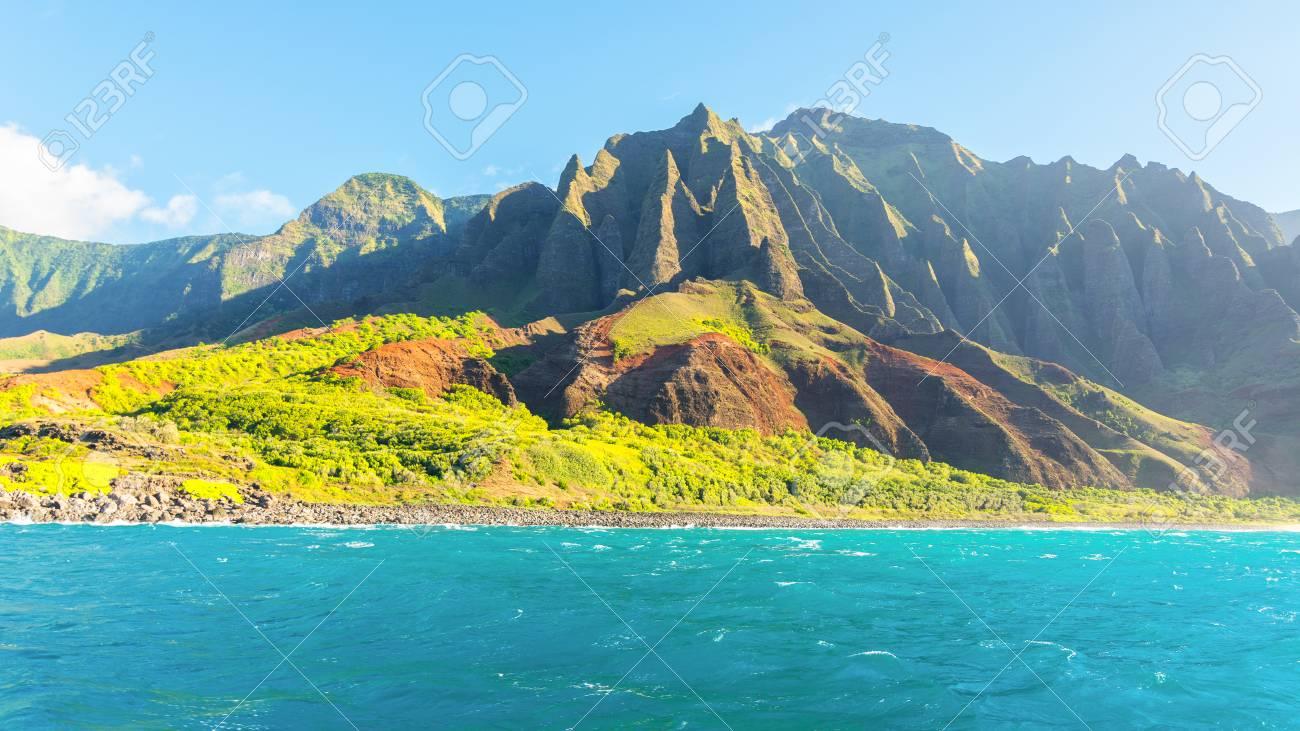 amazing views of na pali coast from the boat tour, kauai island