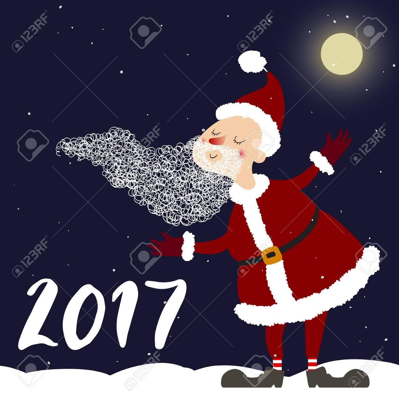 Vector Art 2017 Année Avec Dessin Animé Mignon Père Noël Perfectionnez Pour L Invitation Les Cartes Postales Les Bannières Les Cartes De Voeux Et