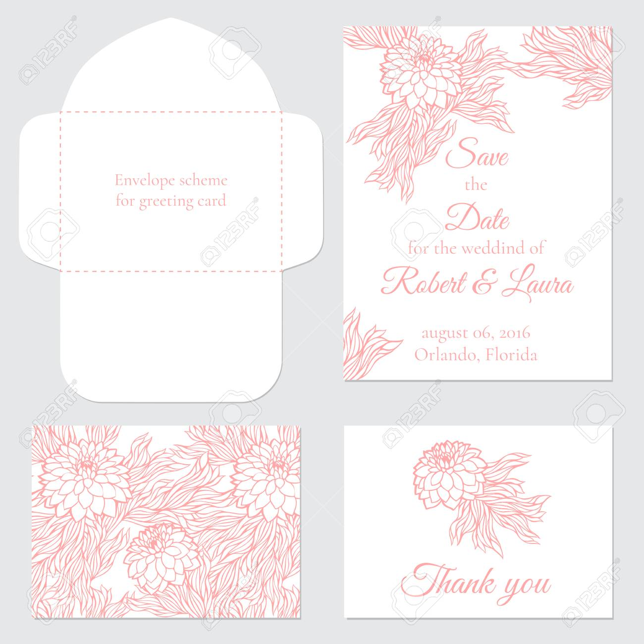 Set of vector greeting cards for wedding save the date elegant set of vector greeting cards for wedding save the date elegant invitation template for m4hsunfo