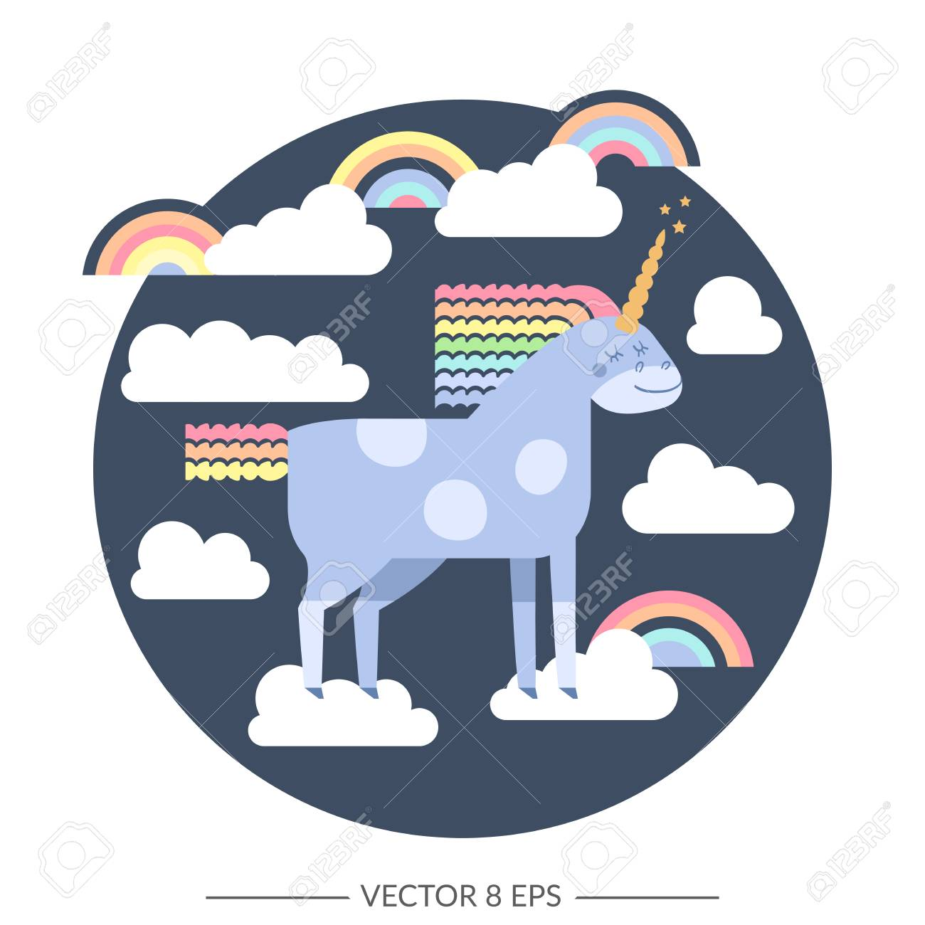 Cute Vector Unicorn In Flat Style Unicorn Horse With Rainbow Royalty Free Cliparts Vectors And Stock Illustration Image 82953368