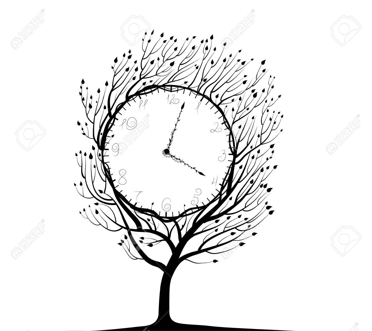 Cadenas Noir Et Blanc Temps De Lidée De La Vie Végétale étrange Horloge Vecteur