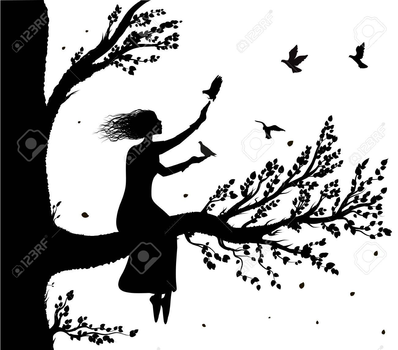 Girl sitting on big tree branch an holding the pigeons flying to her, autumn wind and birds silhouette, secret place, childhood memory, - 90749487