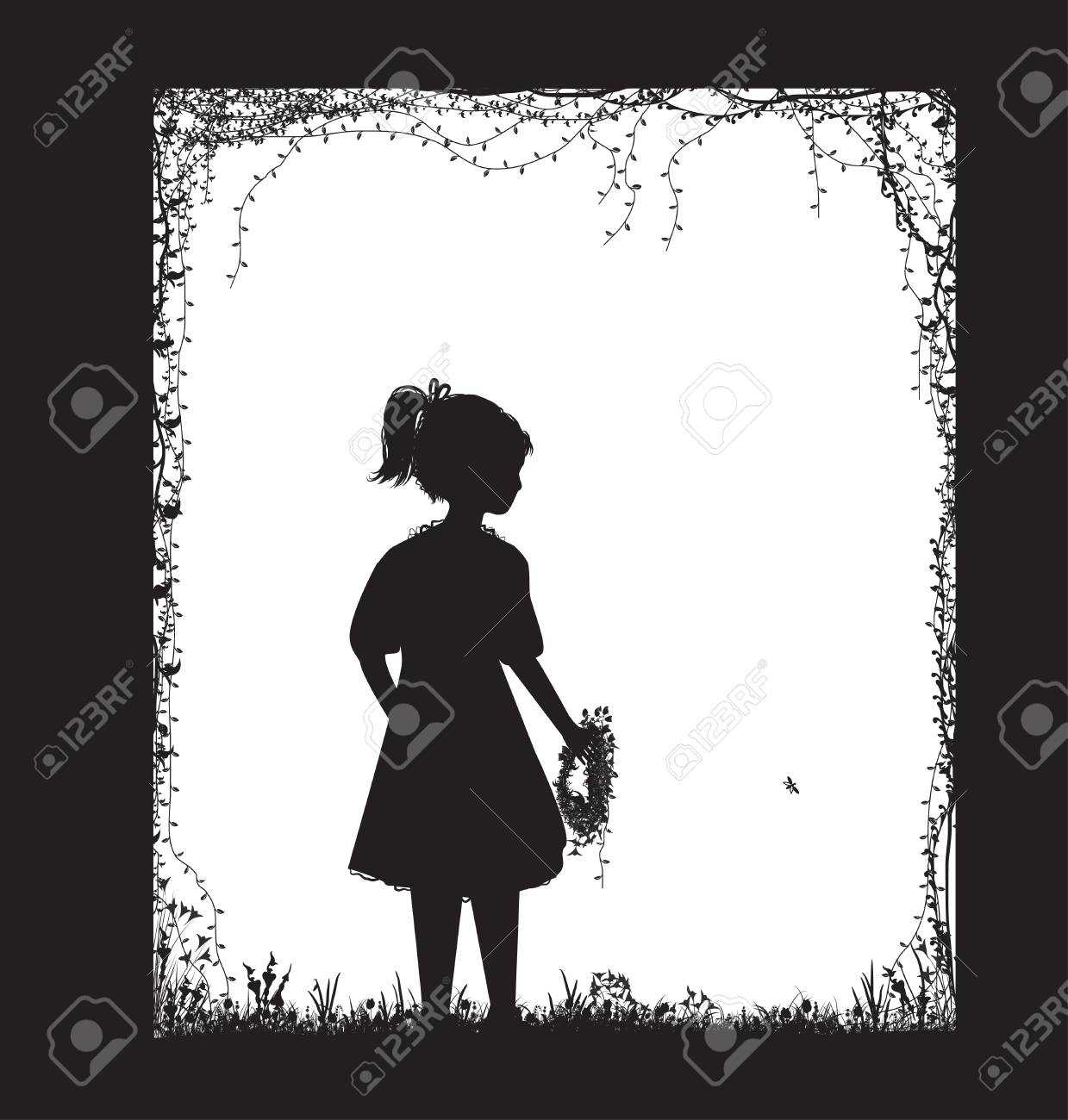 Small girl holding the field flower wreath black and white