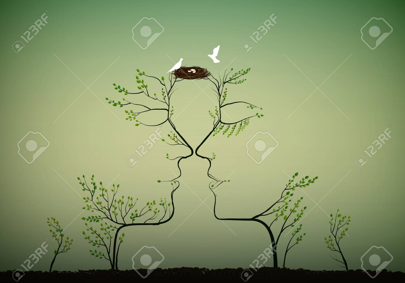 Couple of people look like tree branches silhouettes with bird nest, family concept. - 94025679