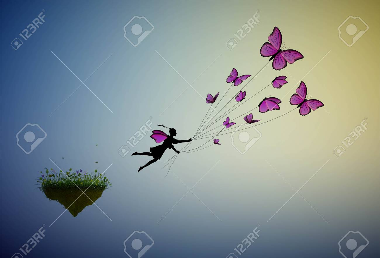 60506db93 fairy holding flock of pink butterflies and flying away from the flower  island, fairy character