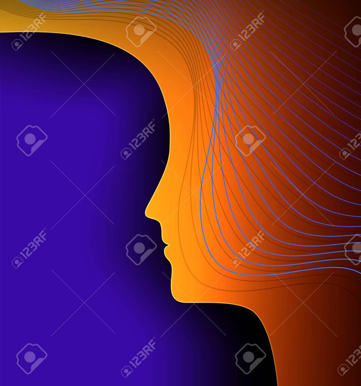 woman profile, technology and human concept, woman psyhology creative idea, vector - 143357889