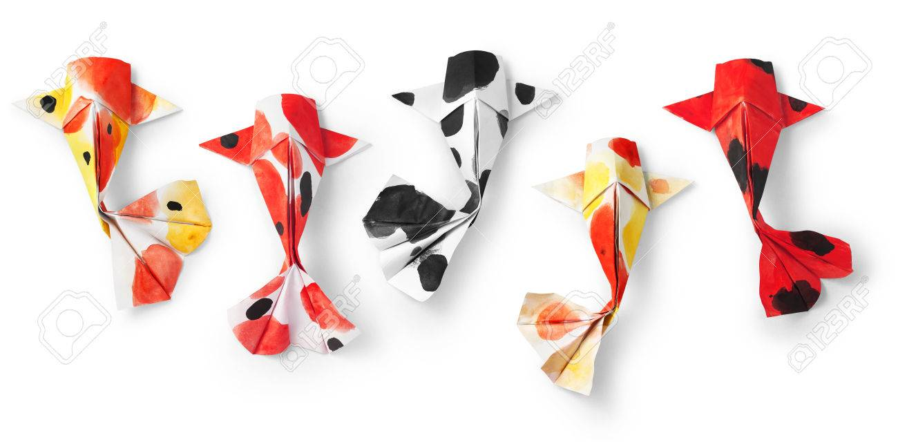 Handmade Paper Craft Origami Koi Carp Fish On White Background Stock Photo