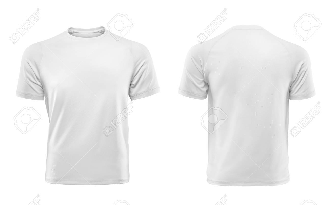 8ee66c448c374 Weiße T-Shirts vorne und hinten als Design-Vorlage verwendet. Standard-Bild