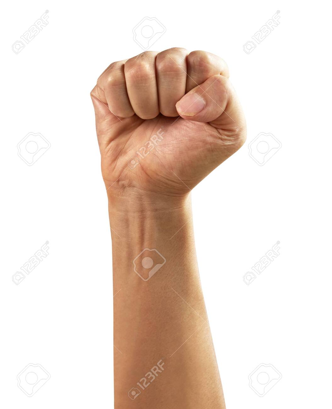 Male clenched fist, isolated on a white background - 151193970